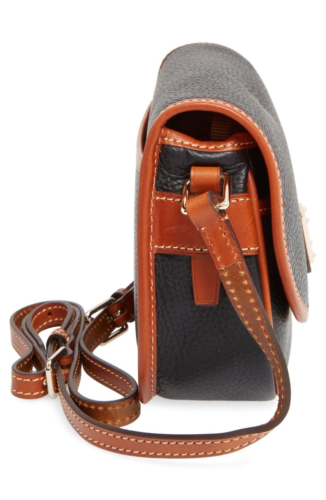 'Hallie' Leather Crossbody Bag,                             Alternate thumbnail 5, color,                             001