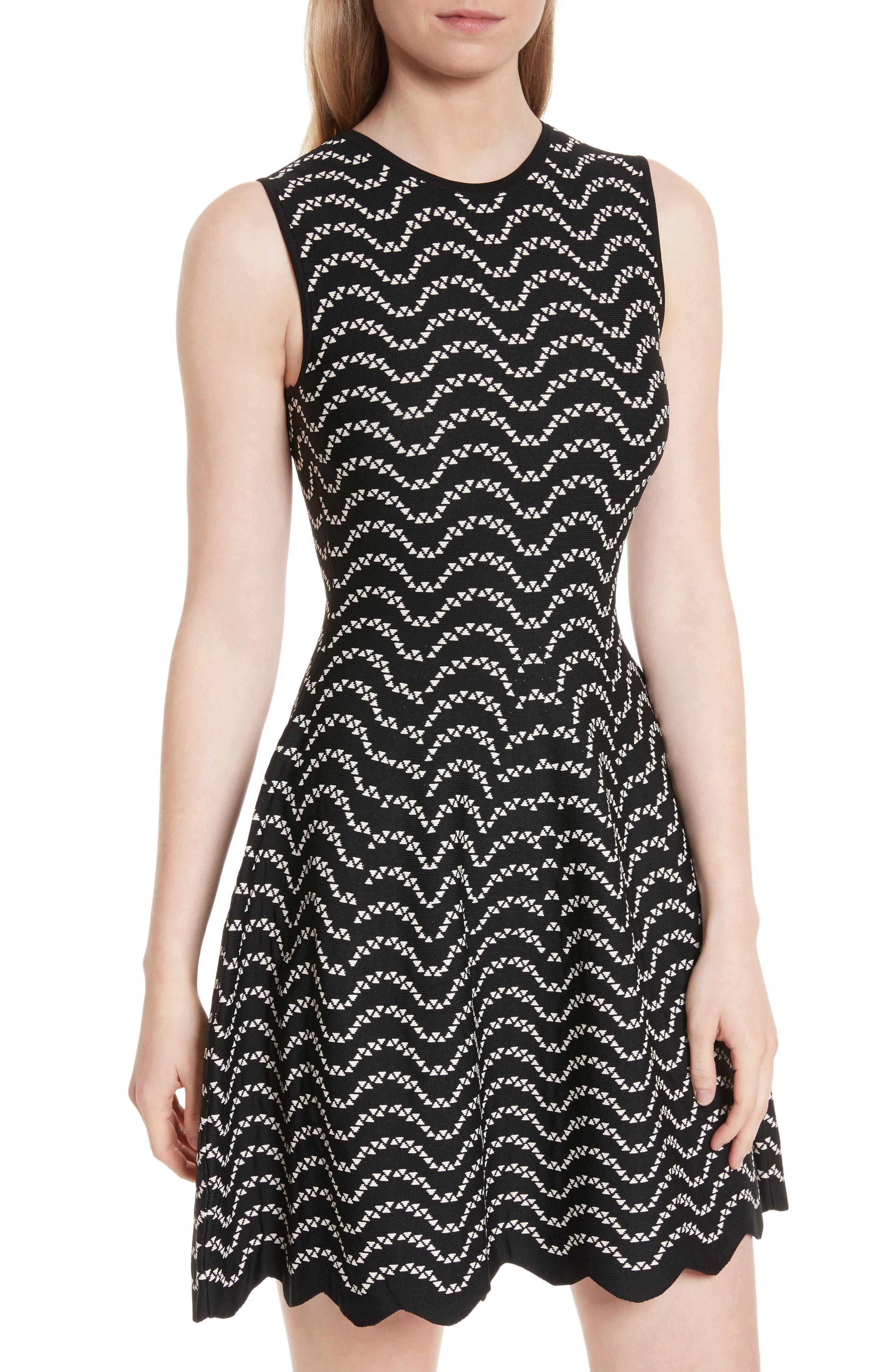 Bryena Jacquard Fit & Flare Dress,                             Alternate thumbnail 4, color,                             001
