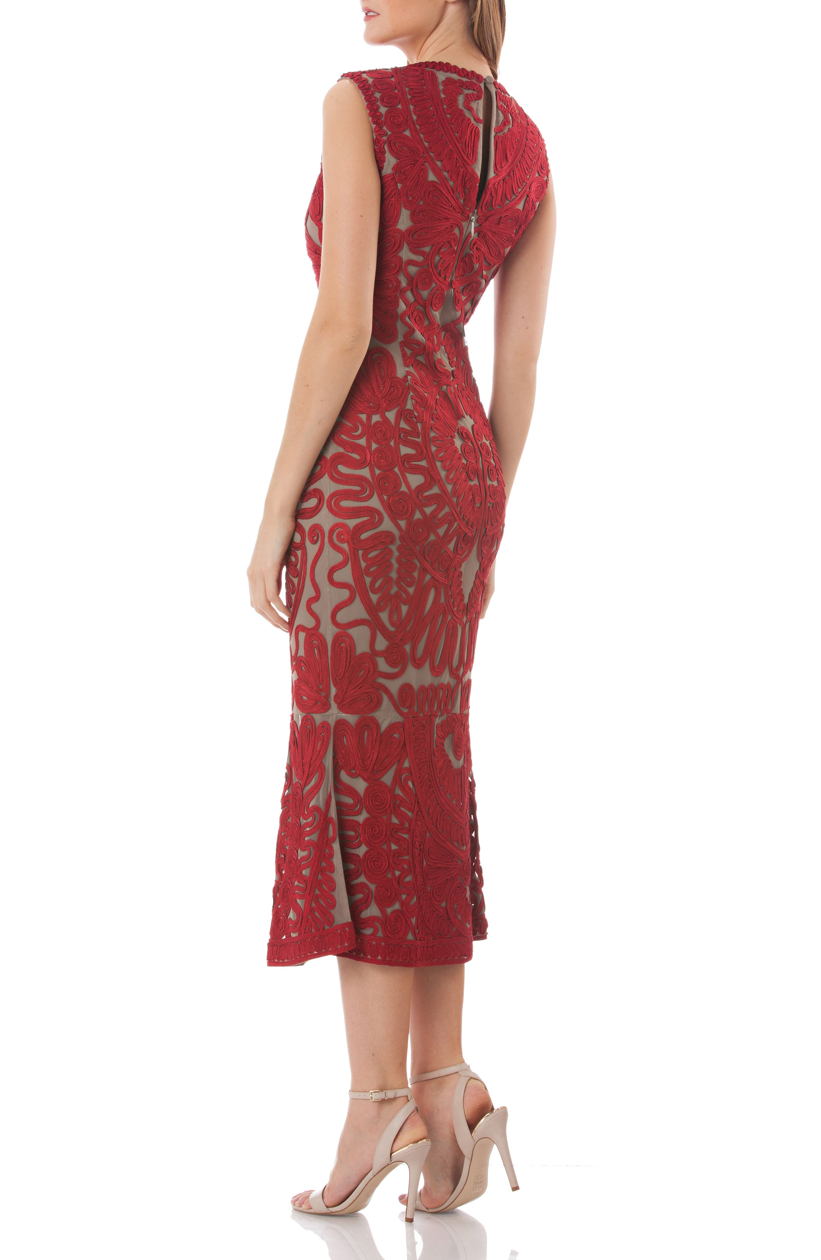 Soutache Mesh Dress,                             Alternate thumbnail 2, color,                             RED/ CLAY