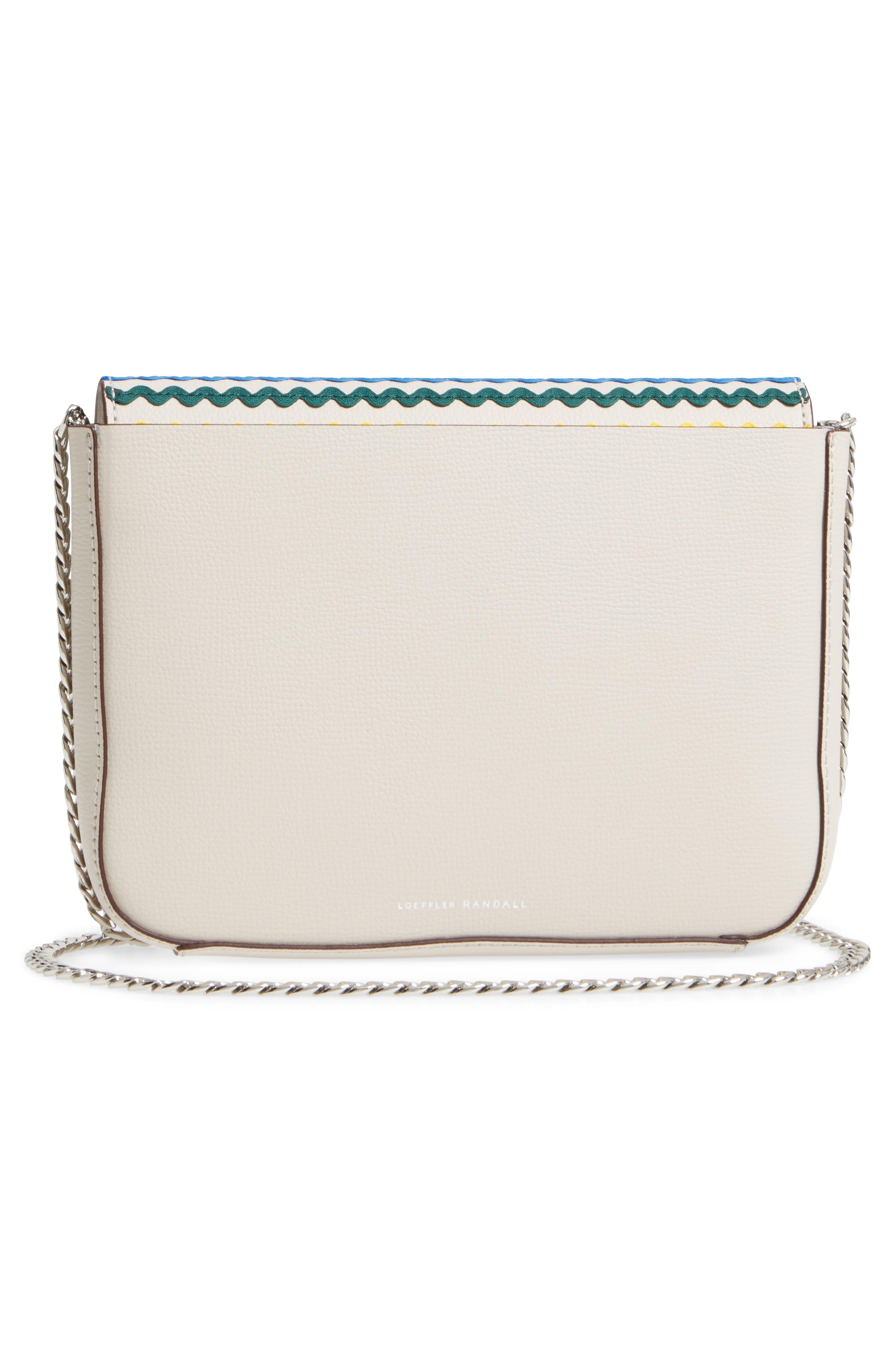 Lock Leather Flap Clutch/Shoulder Bag,                             Alternate thumbnail 3, color,                             030