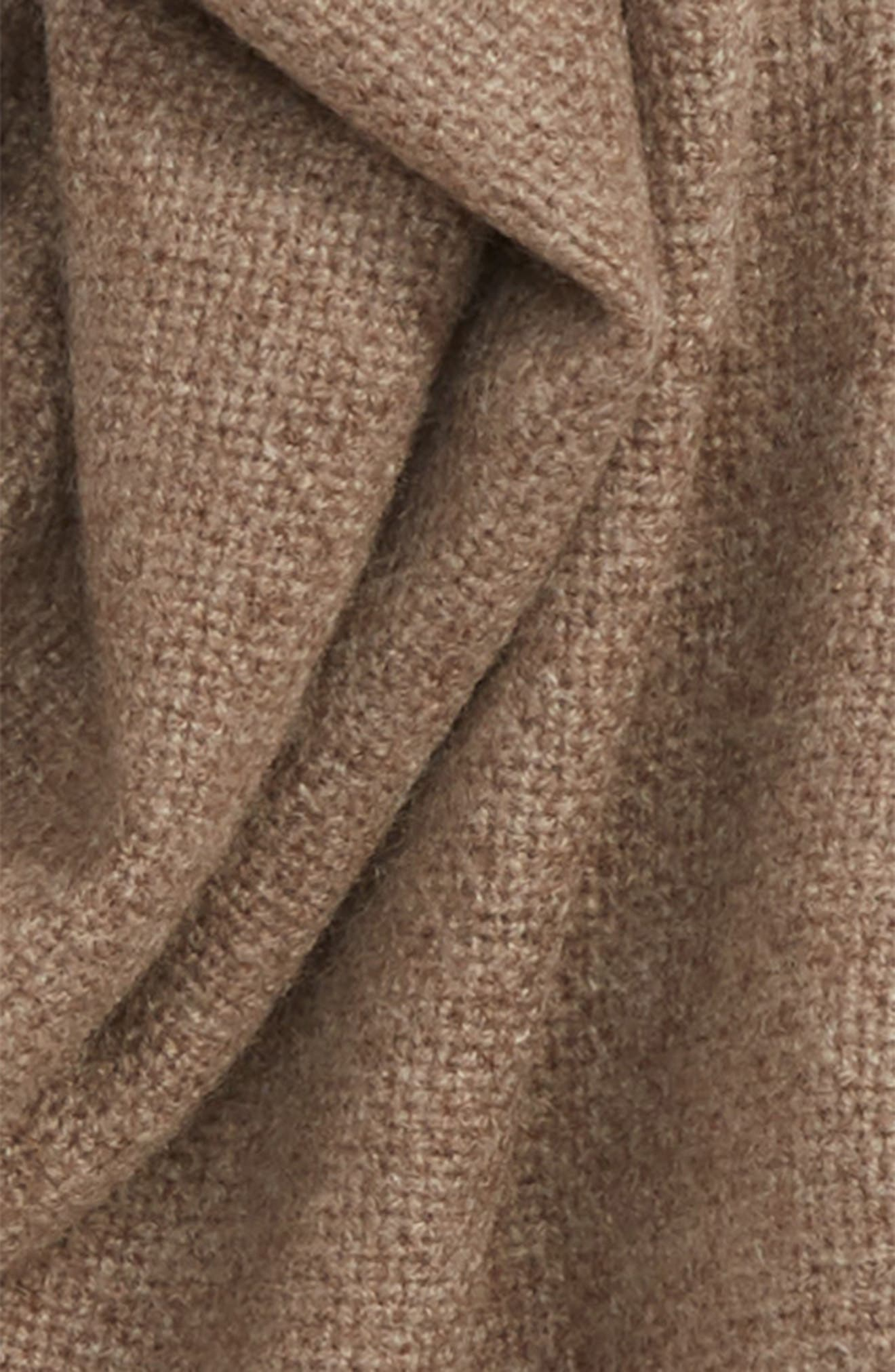 Solid Cashmere Scarf,                             Alternate thumbnail 3, color,                             BROWN WALNUT