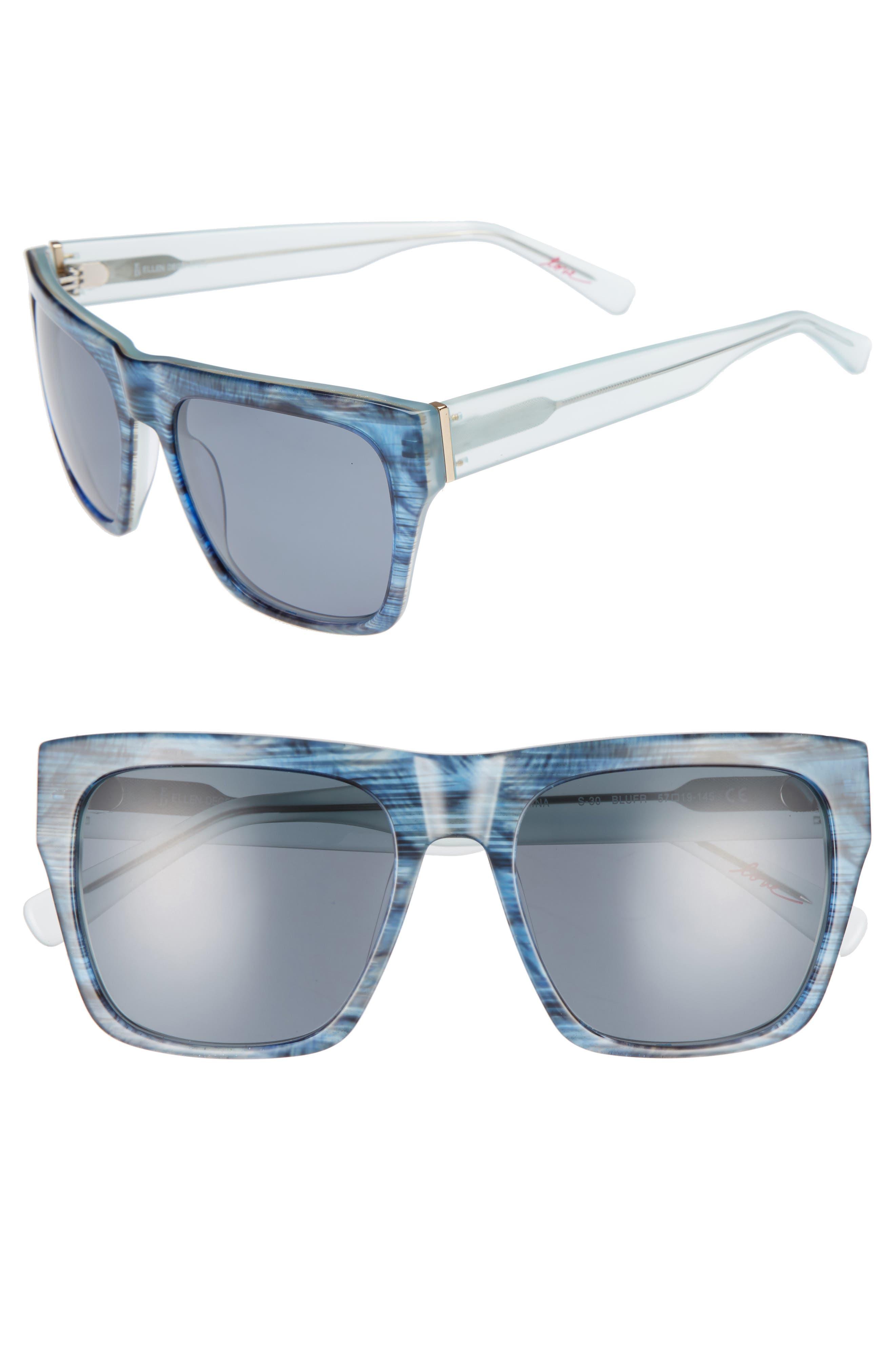 57mm Gradient Square Sunglasses,                         Main,                         color, BLUE FEATHER