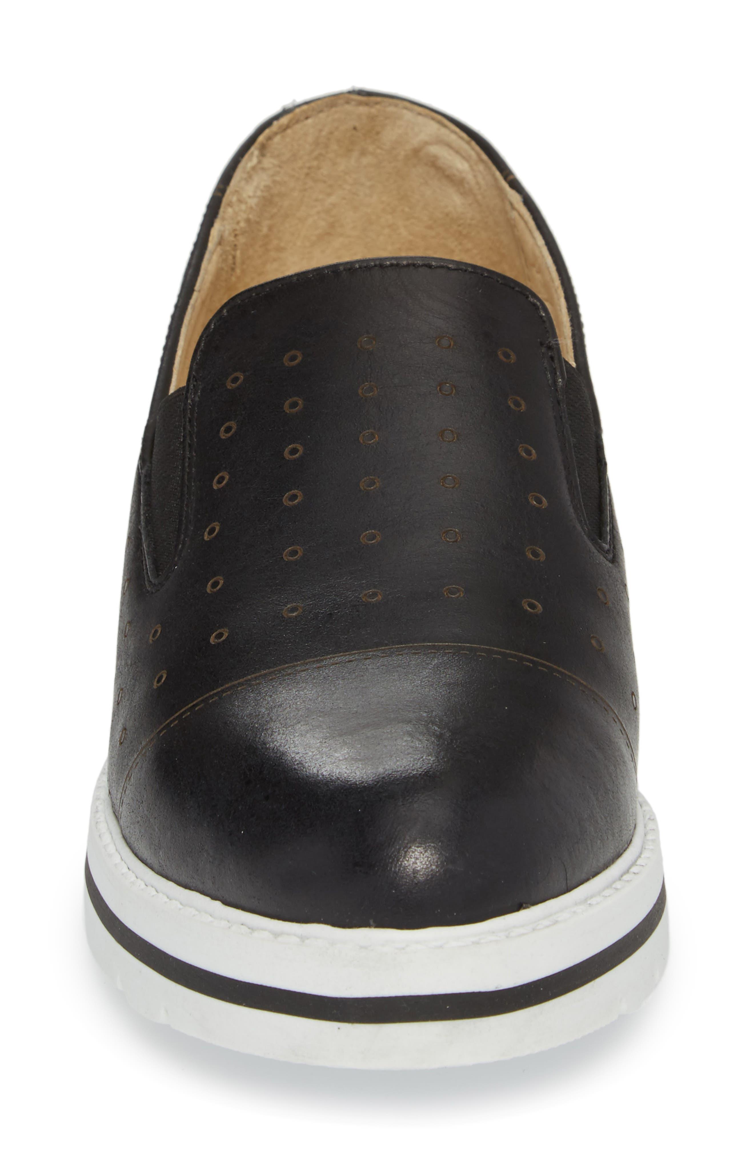 Leigh Slip-On Sneaker,                             Alternate thumbnail 4, color,                             BLACK GLAMOUR LEATHER