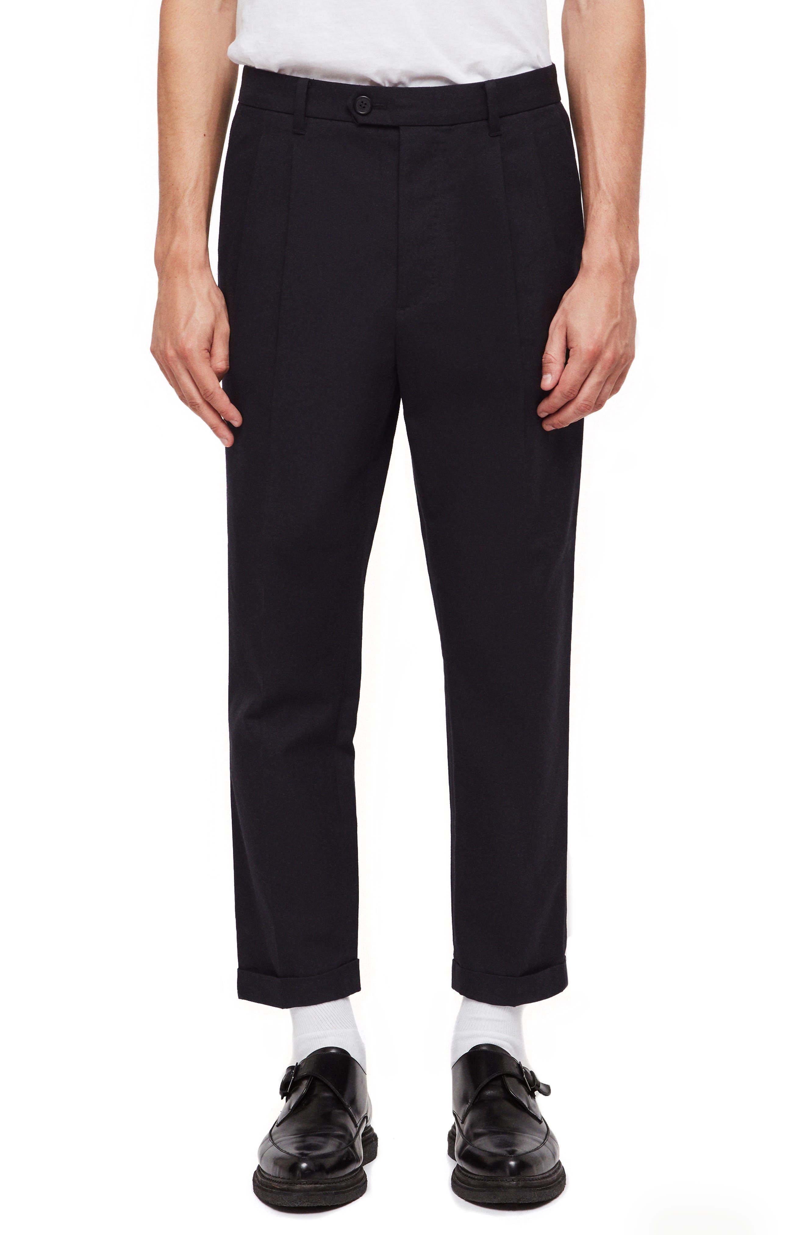 ALLSAINTS,                             Tallis Pleated Cotton & Wool Trousers,                             Main thumbnail 1, color,                             BLACK
