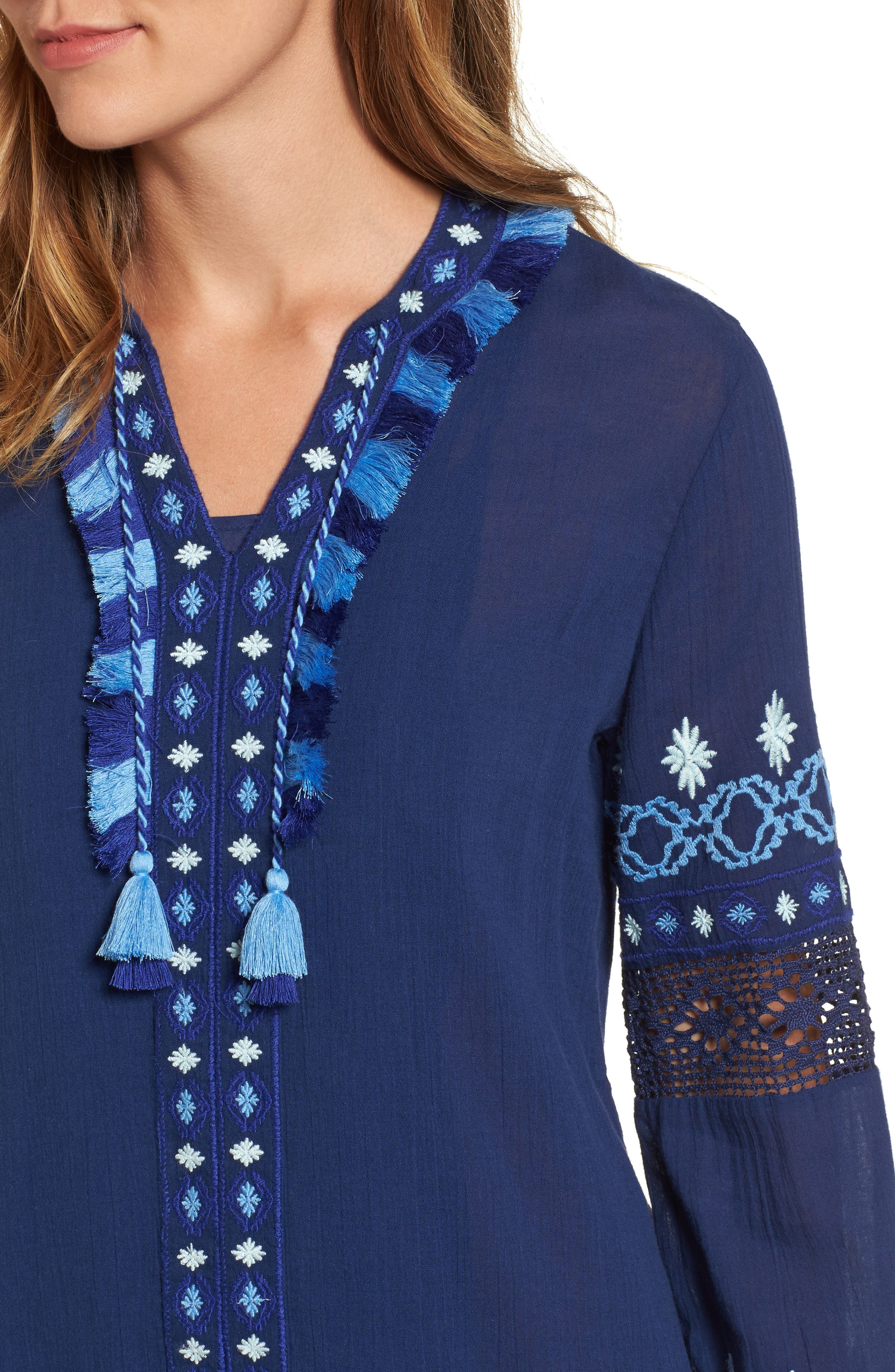 Solid Embroidered Cover-Up,                             Alternate thumbnail 4, color,                             476