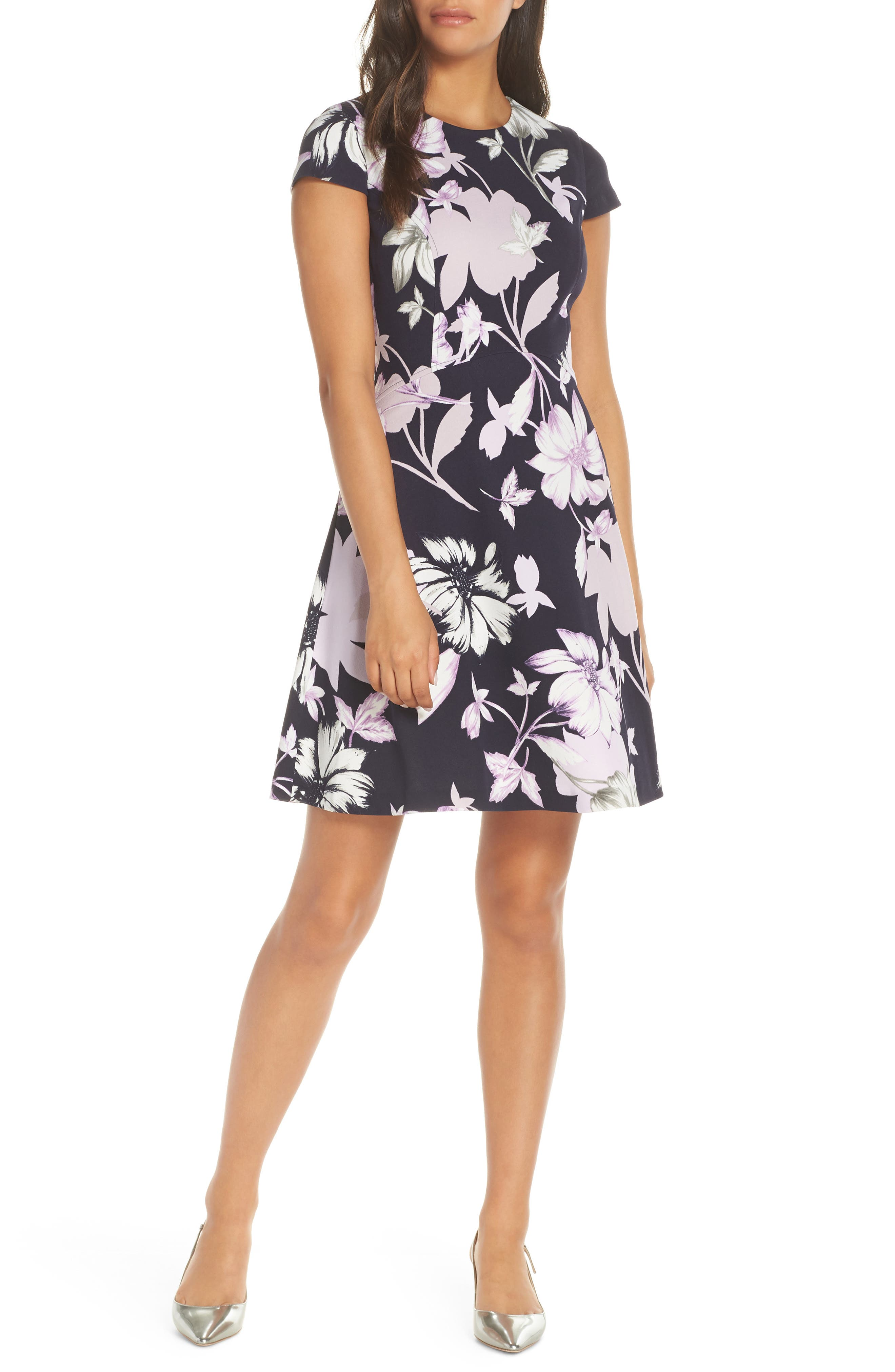 Vince Camuto Floral Fit & Flare Dress, Purple