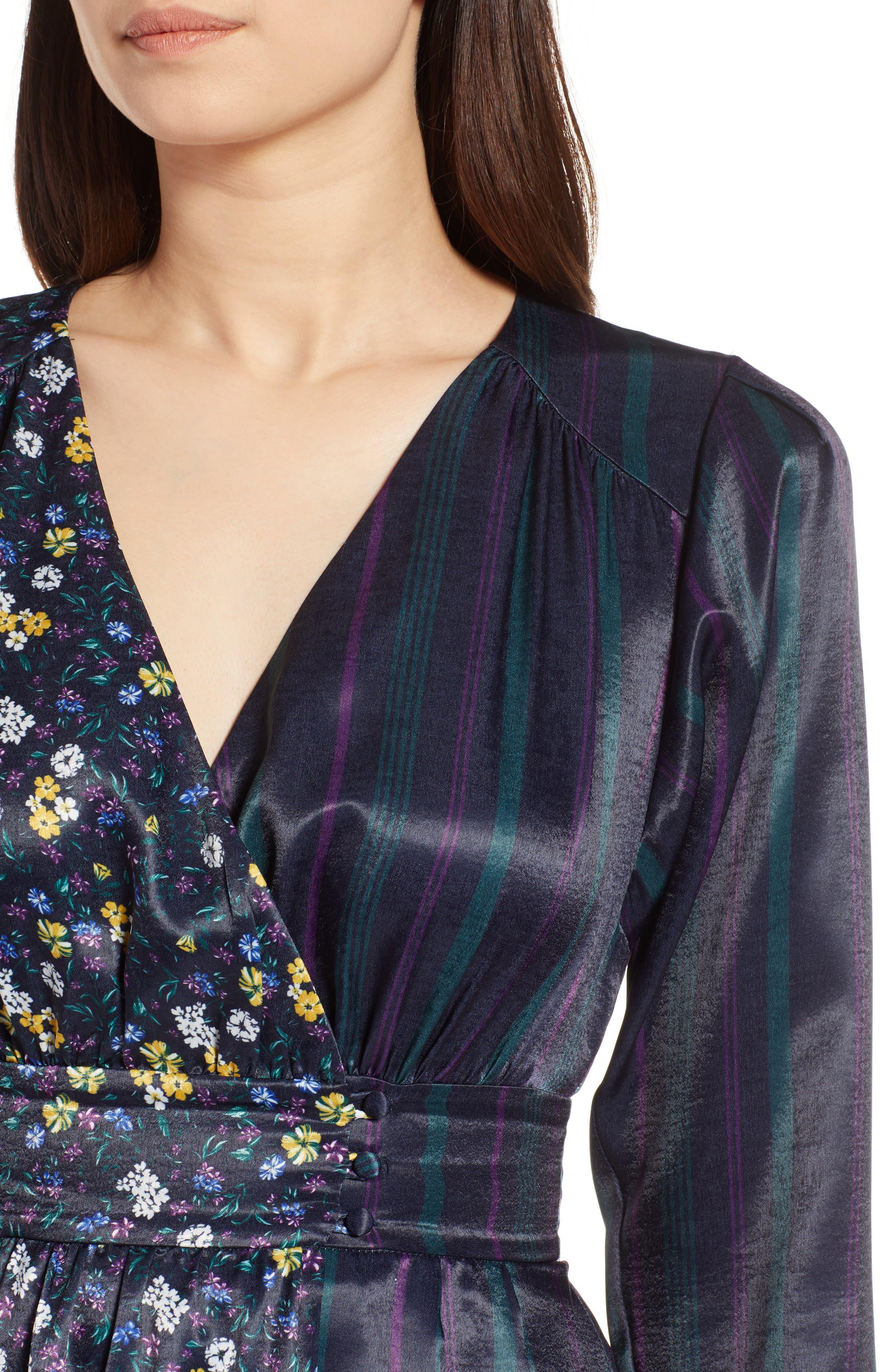 Print Satin Dress,                             Alternate thumbnail 4, color,                             410