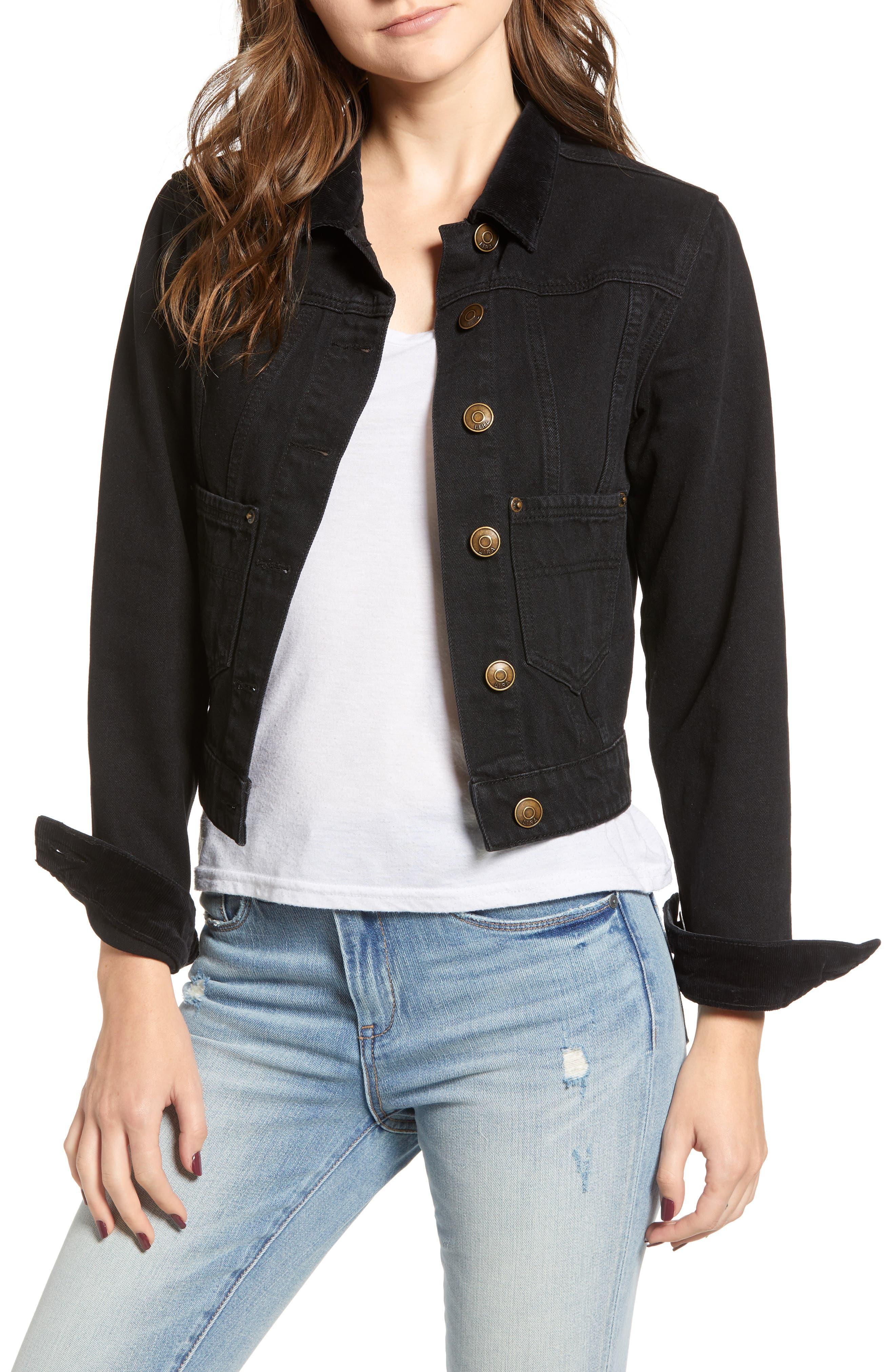 Polara Denim Jacket,                             Main thumbnail 1, color,                             WASHED BLACK
