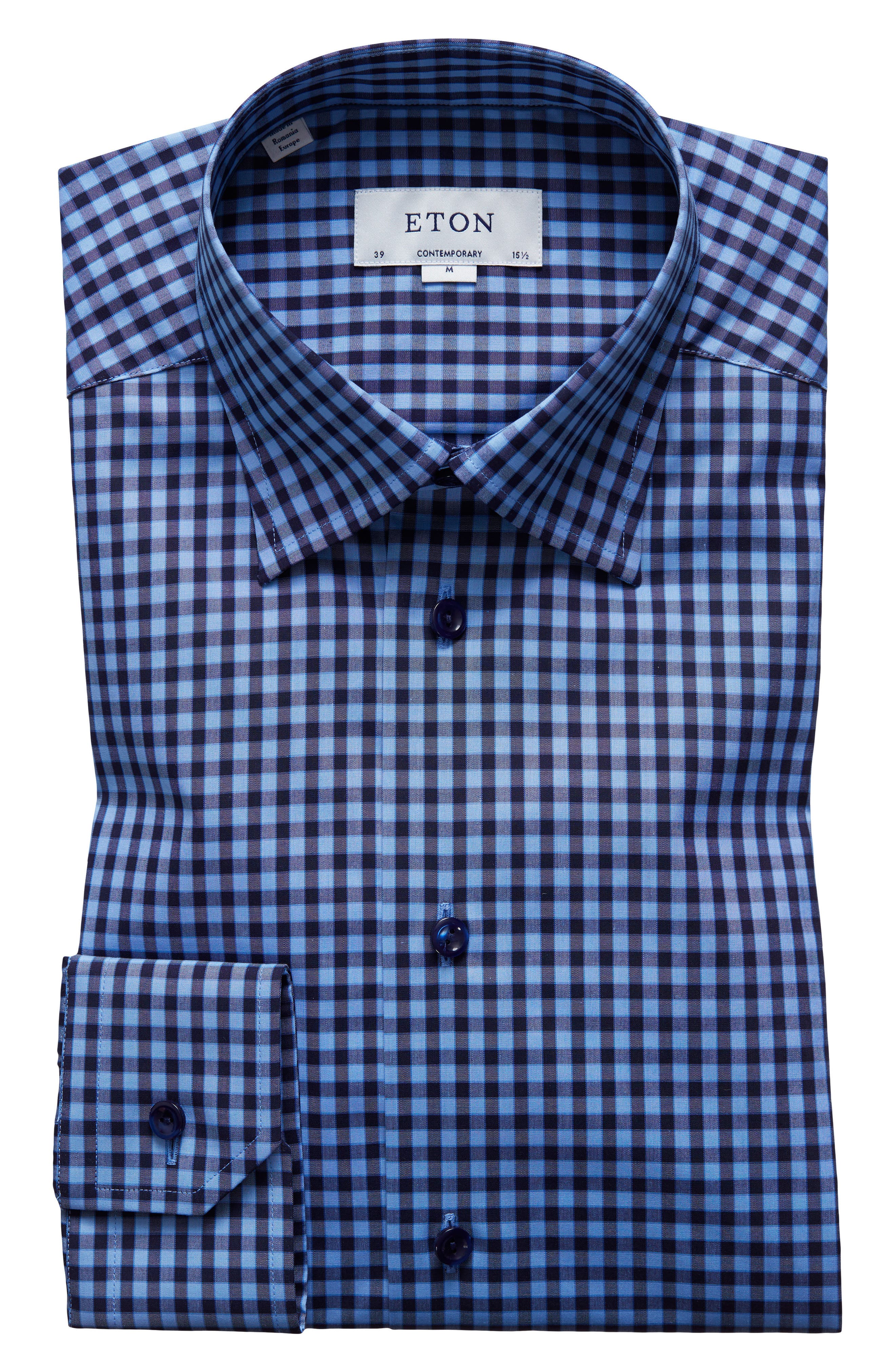 Contemporary Fit Check Dress Shirt,                             Alternate thumbnail 5, color,                             NAVY