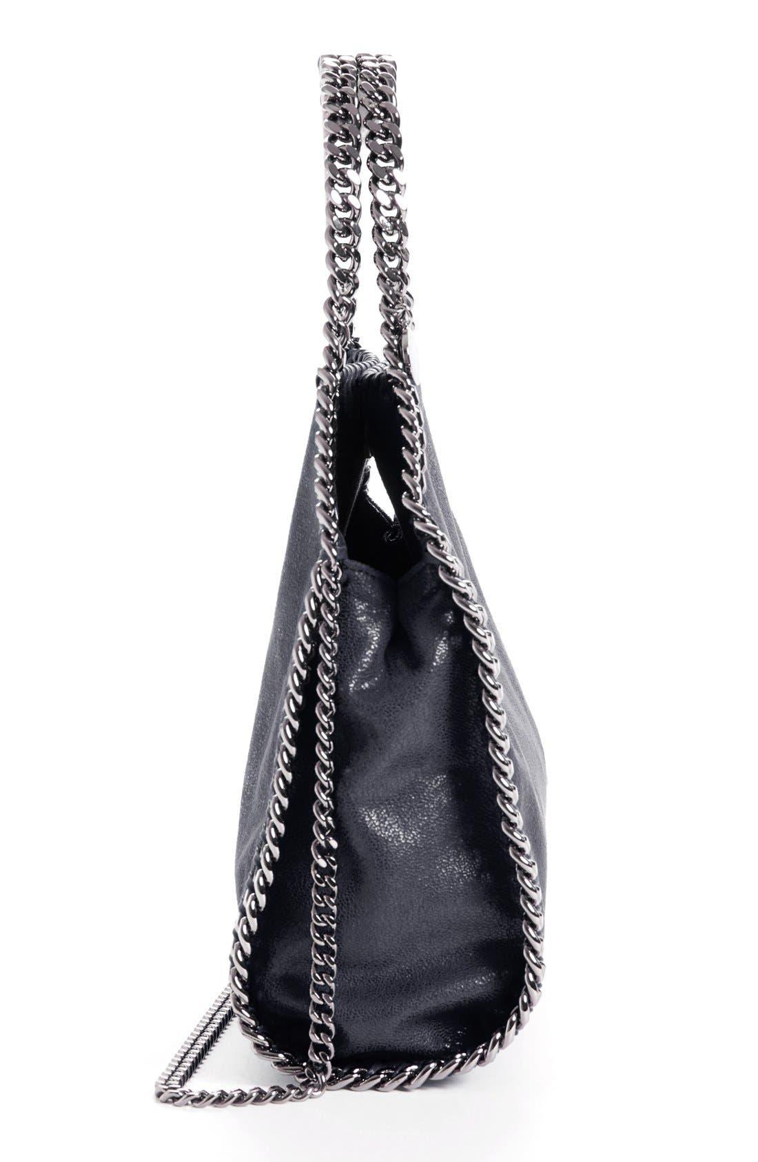 'Mini Falabella - Shaggy Deer' Faux Leather Tote,                             Alternate thumbnail 7, color,                             BLACK W/ SILVER