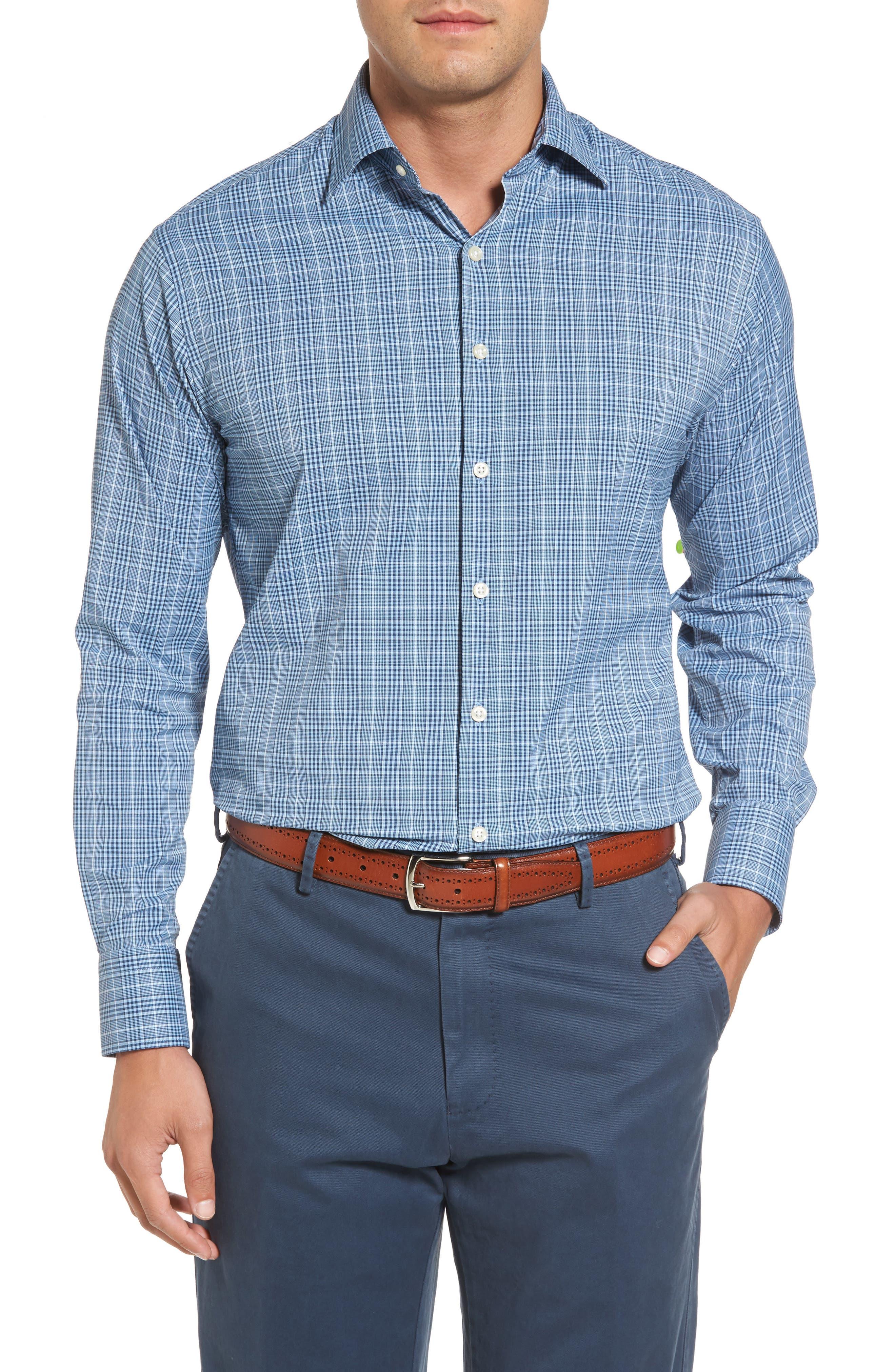 Honeycomb Regular Fit Glen Plaid Performance Sport Shirt,                         Main,                         color, 402