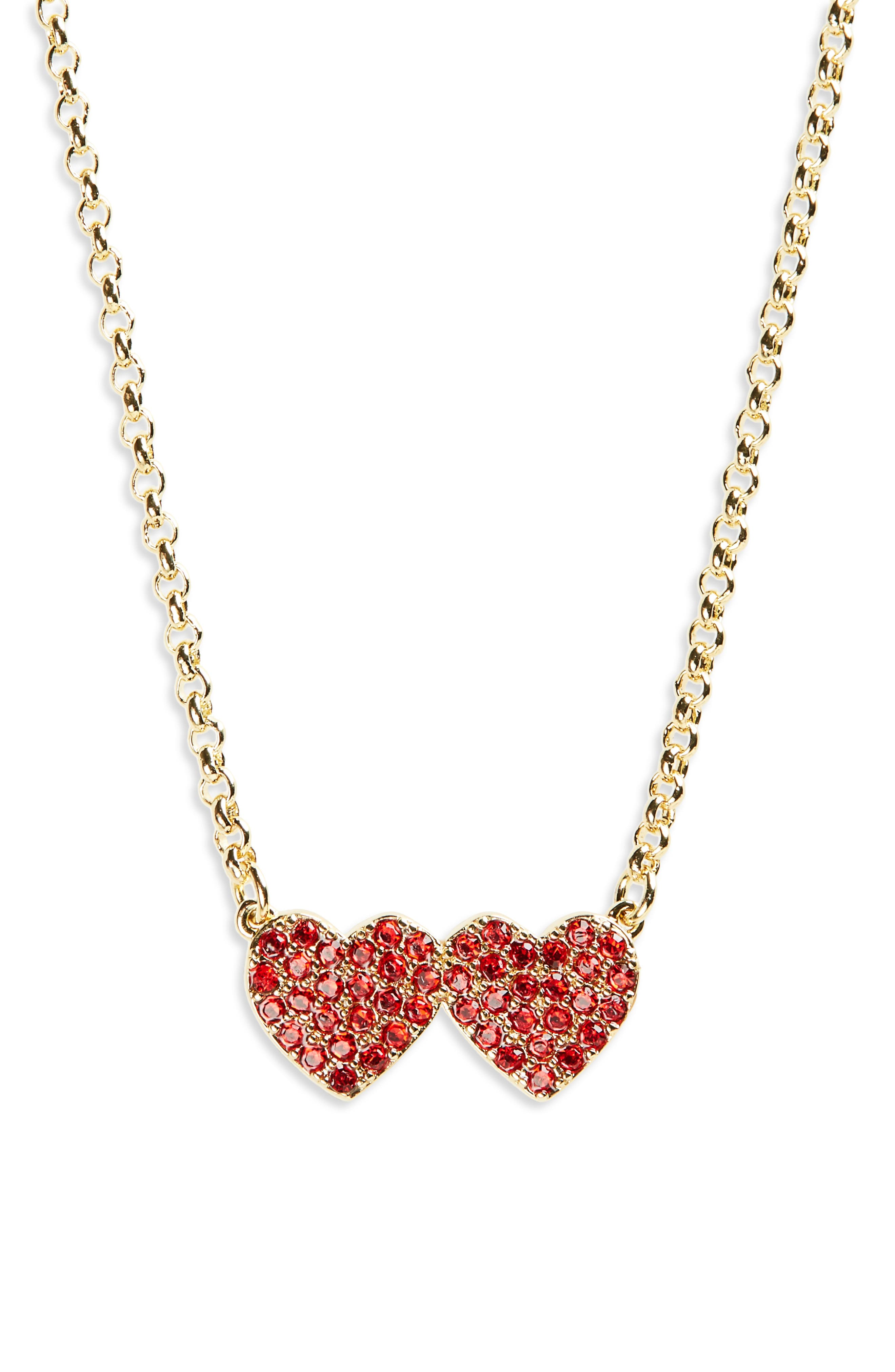 yours truly pavé heart pendant necklace,                         Main,                         color, RED