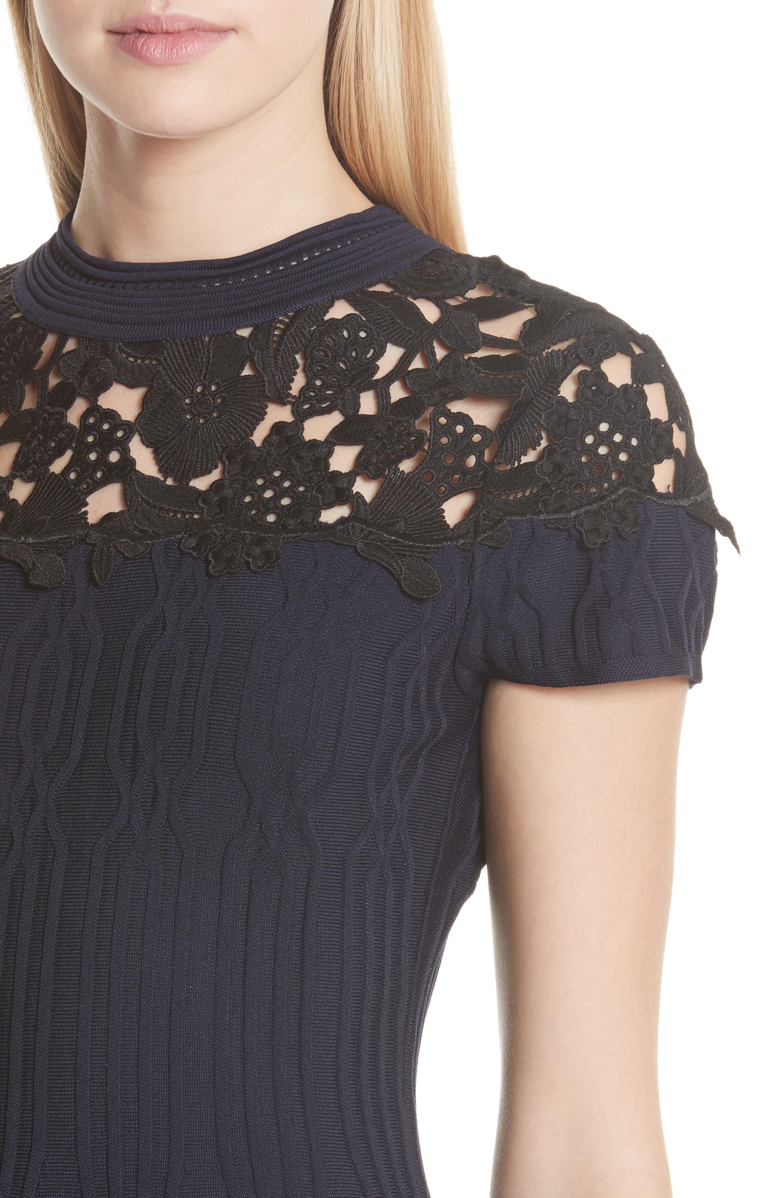 Lace Yoke Dress,                             Alternate thumbnail 4, color,                             400