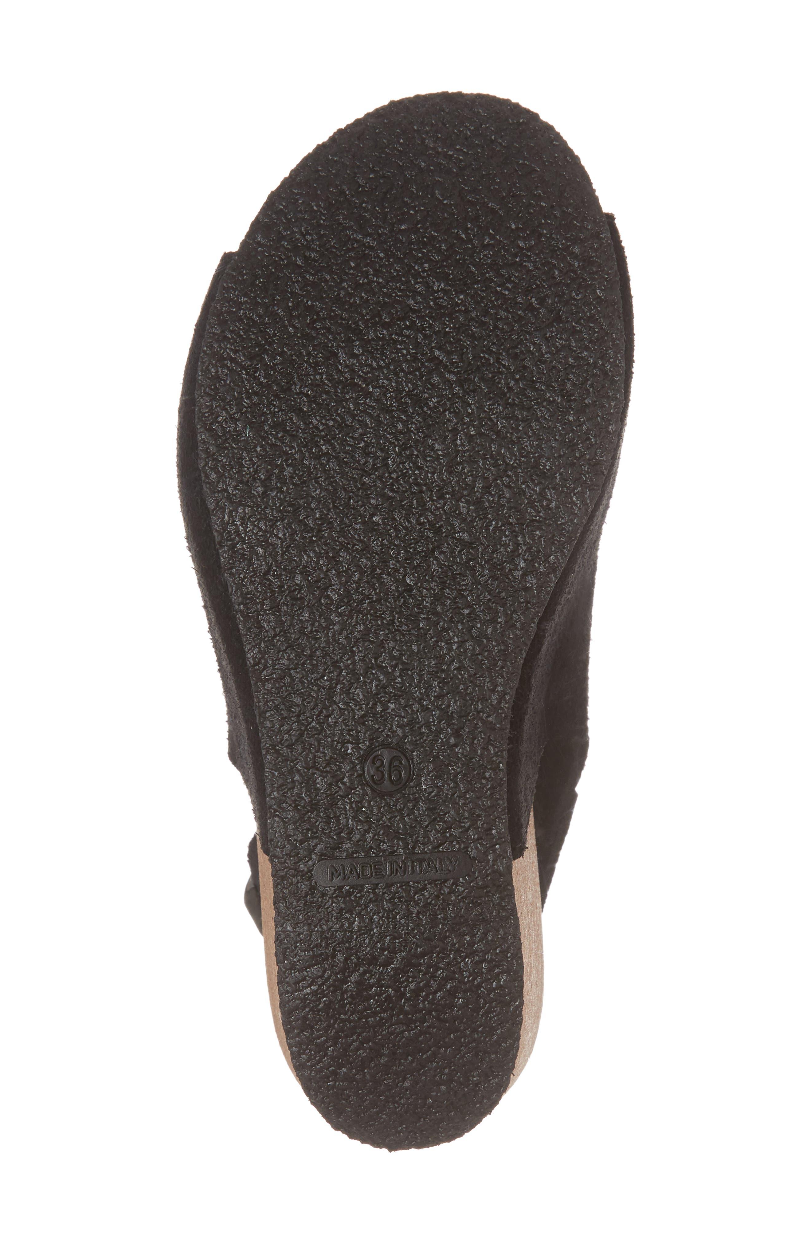 Sheila Platform Wedge Sandal,                             Alternate thumbnail 6, color,                             BLACK NUBUCK