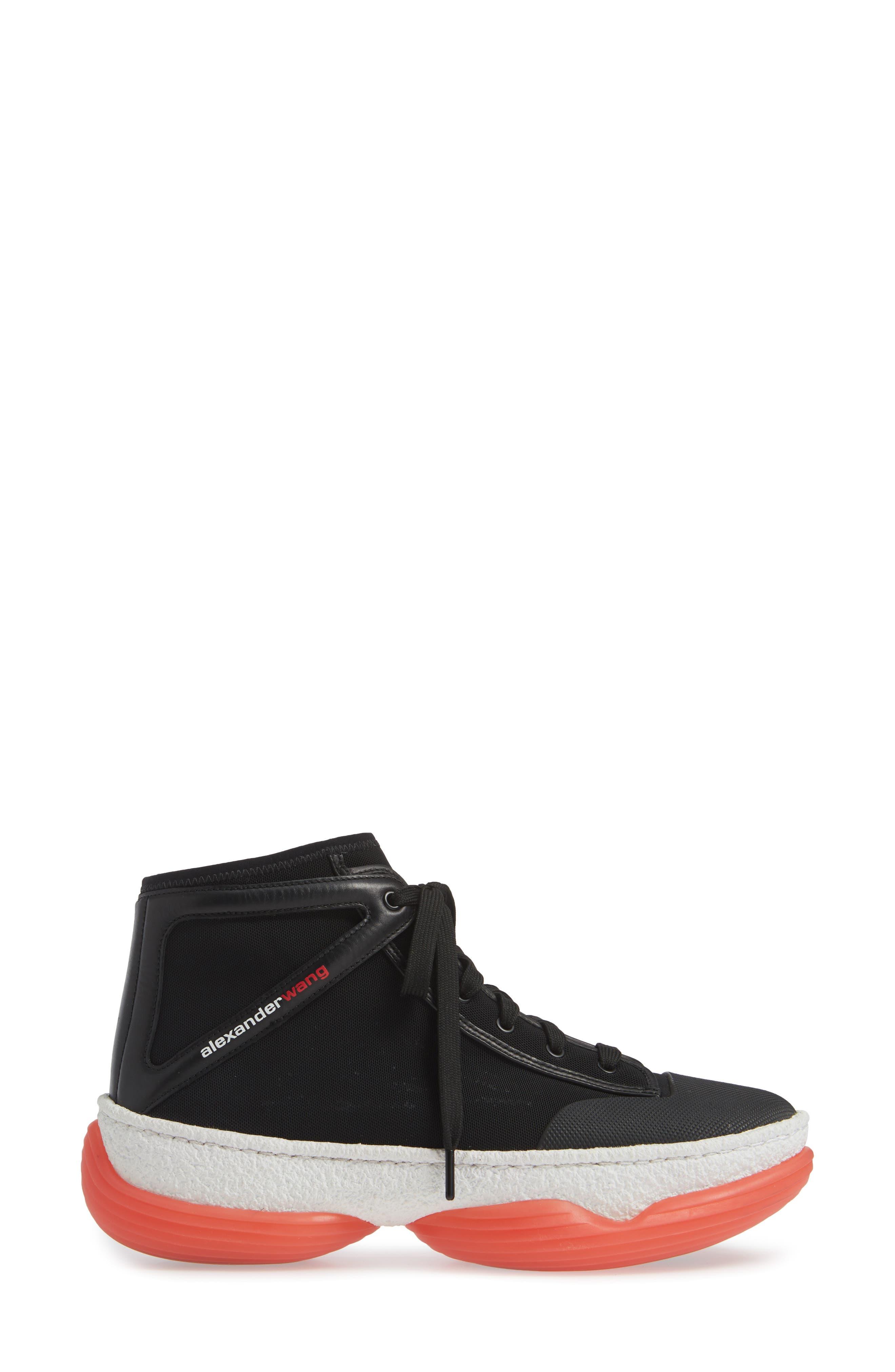 ALEXANDER WANG,                             Logo Platform Sneaker,                             Alternate thumbnail 3, color,                             BLACK