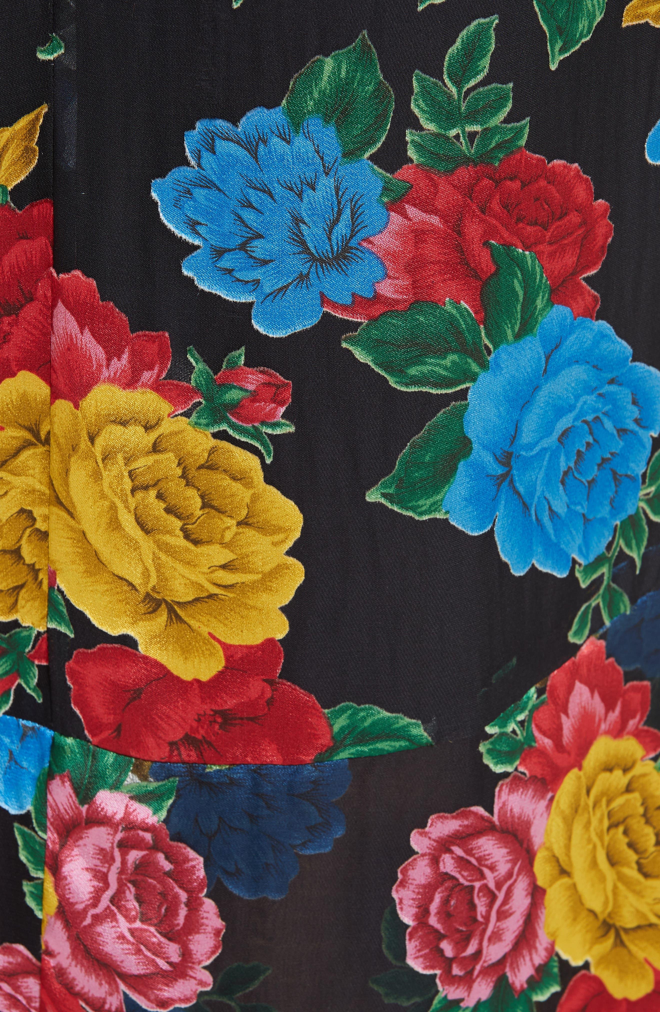 Erika Ruffle High/Low Midi Dress,                             Alternate thumbnail 6, color,                             CAMELLIA BOUQUET BLACK/ MULTI