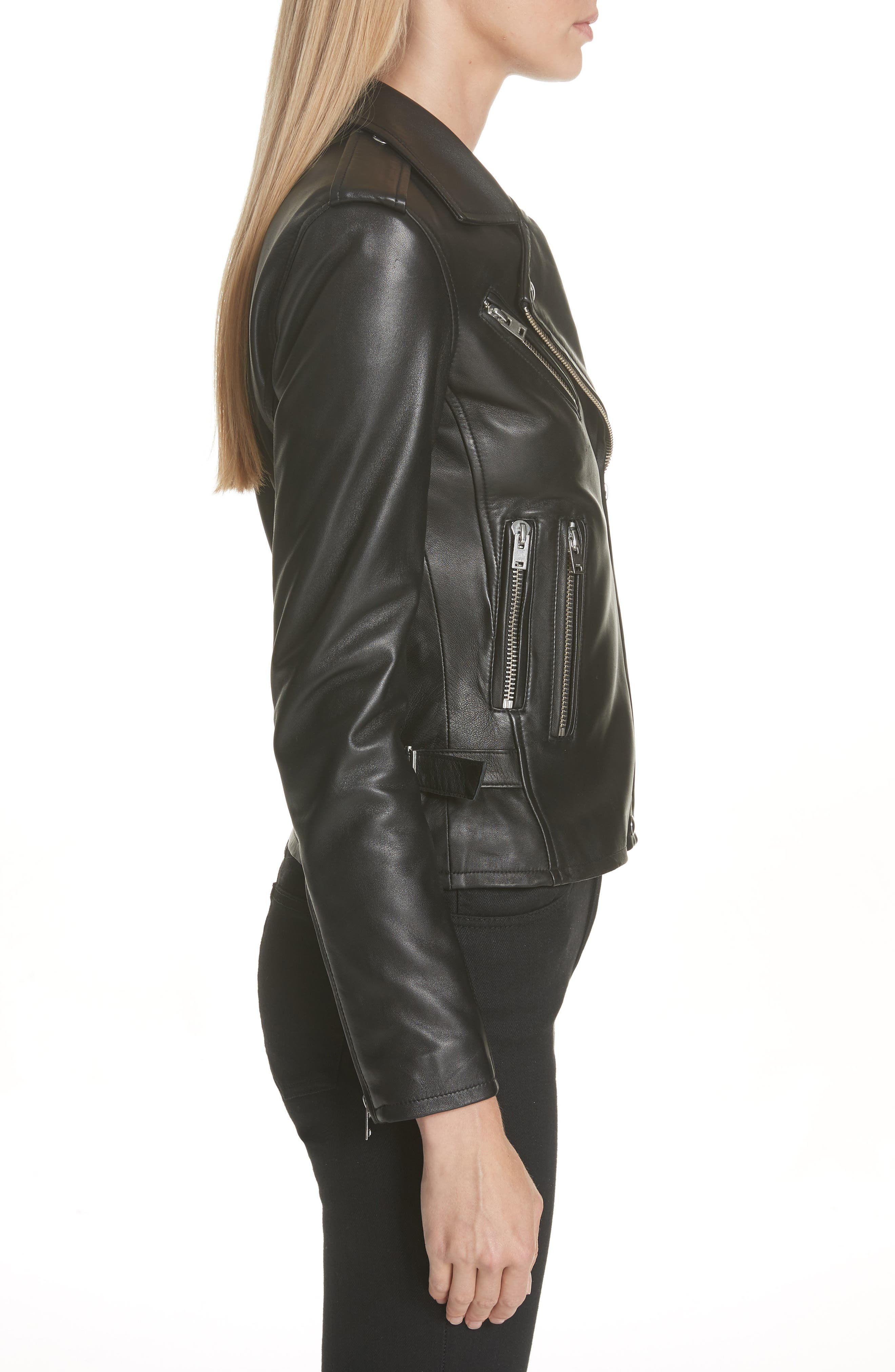 Leather Moto Jacket,                             Alternate thumbnail 3, color,                             BLACK