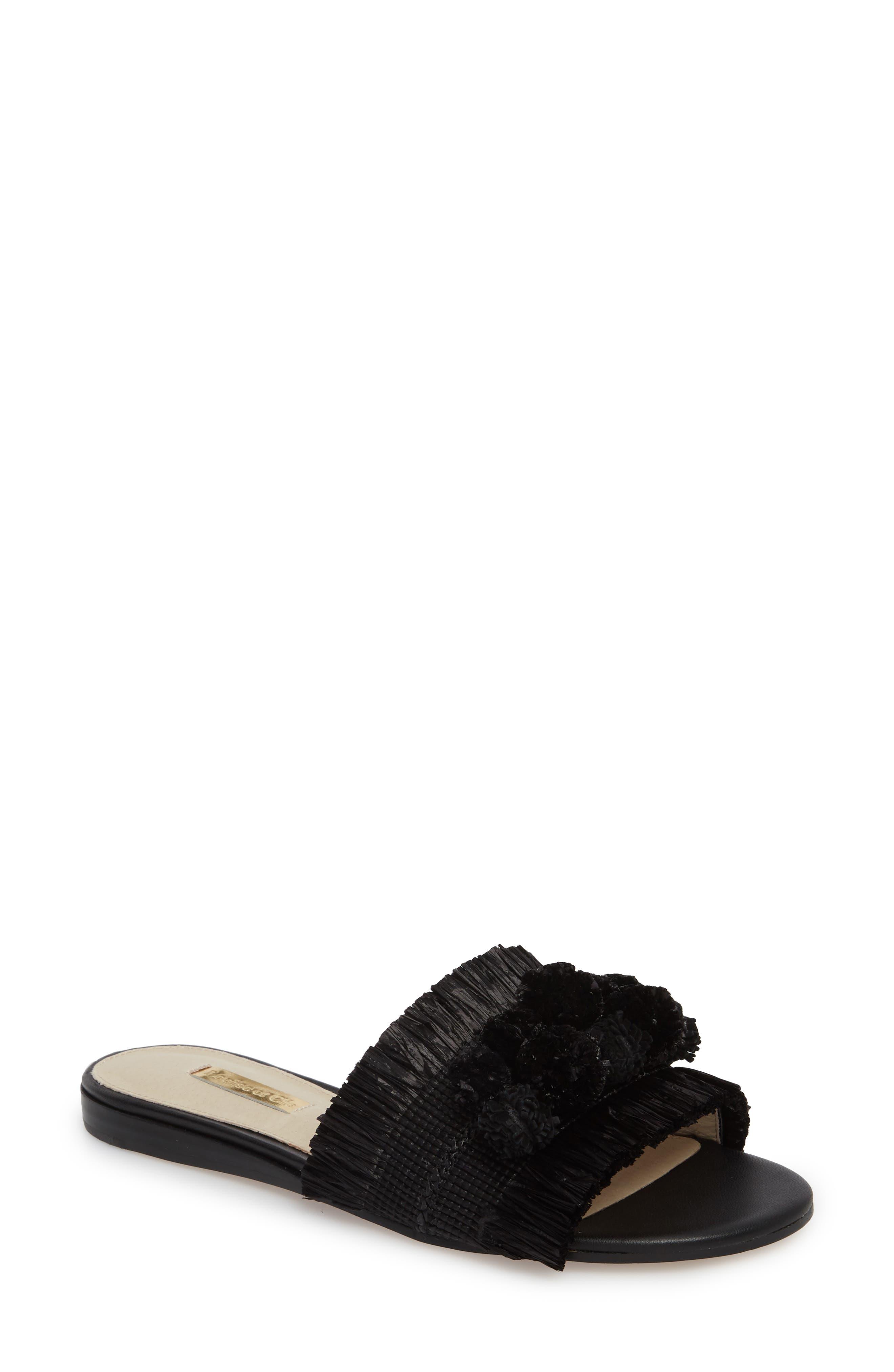 Louise Et Cie Arytha Raffia Slide Sandal, Black