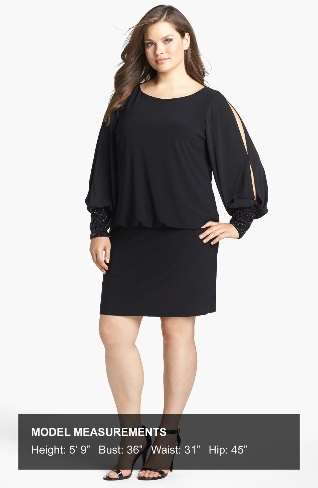 Embellished Cuff Blouson Jersey Dress,                             Alternate thumbnail 12, color,                             BLACK