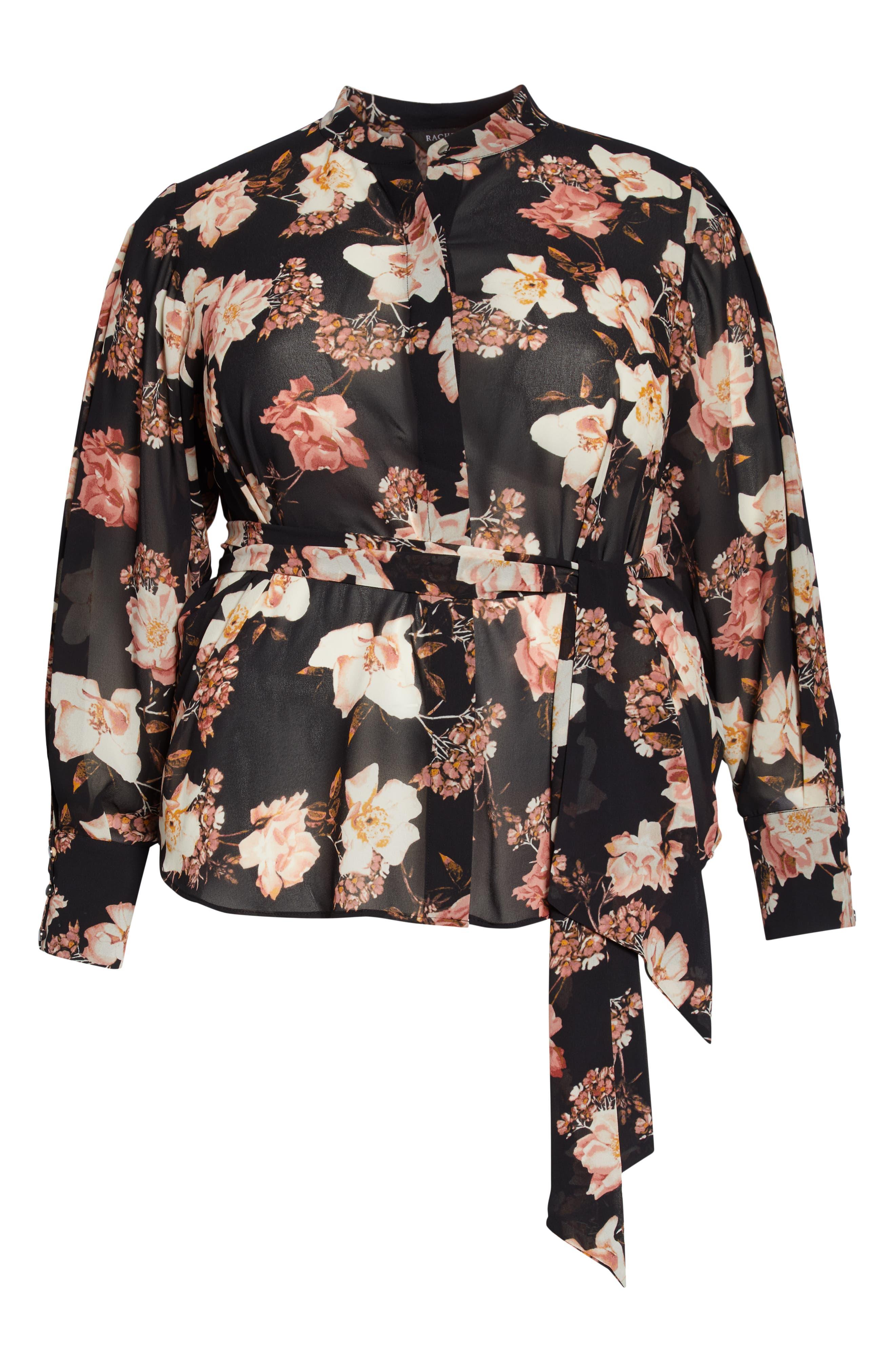 RACHEL ROY COLLECTION,                             Floral Tie Blouse,                             Alternate thumbnail 6, color,                             BLACK COMBO