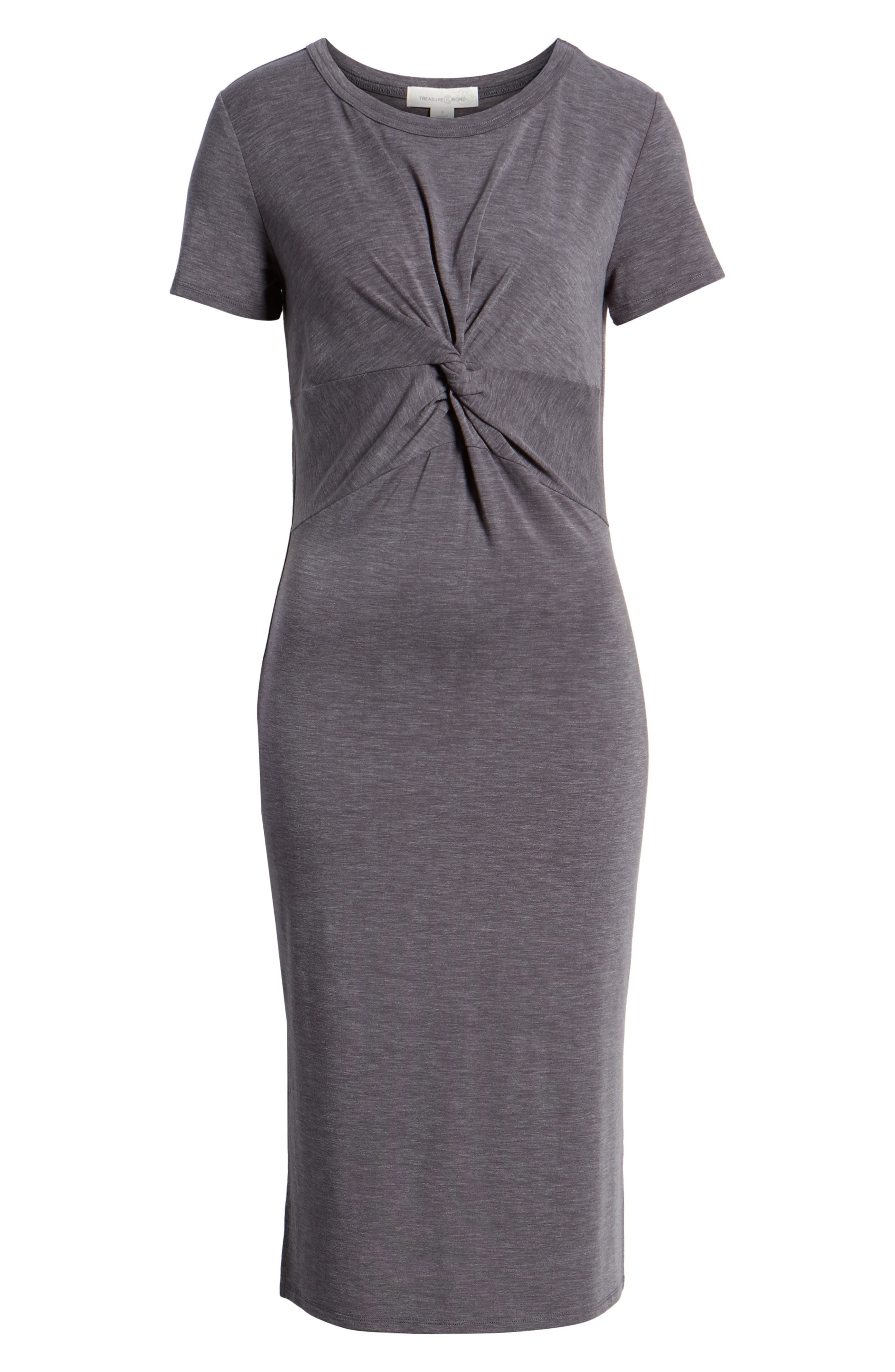 Twist Front Midi Dress,                             Alternate thumbnail 7, color,                             030