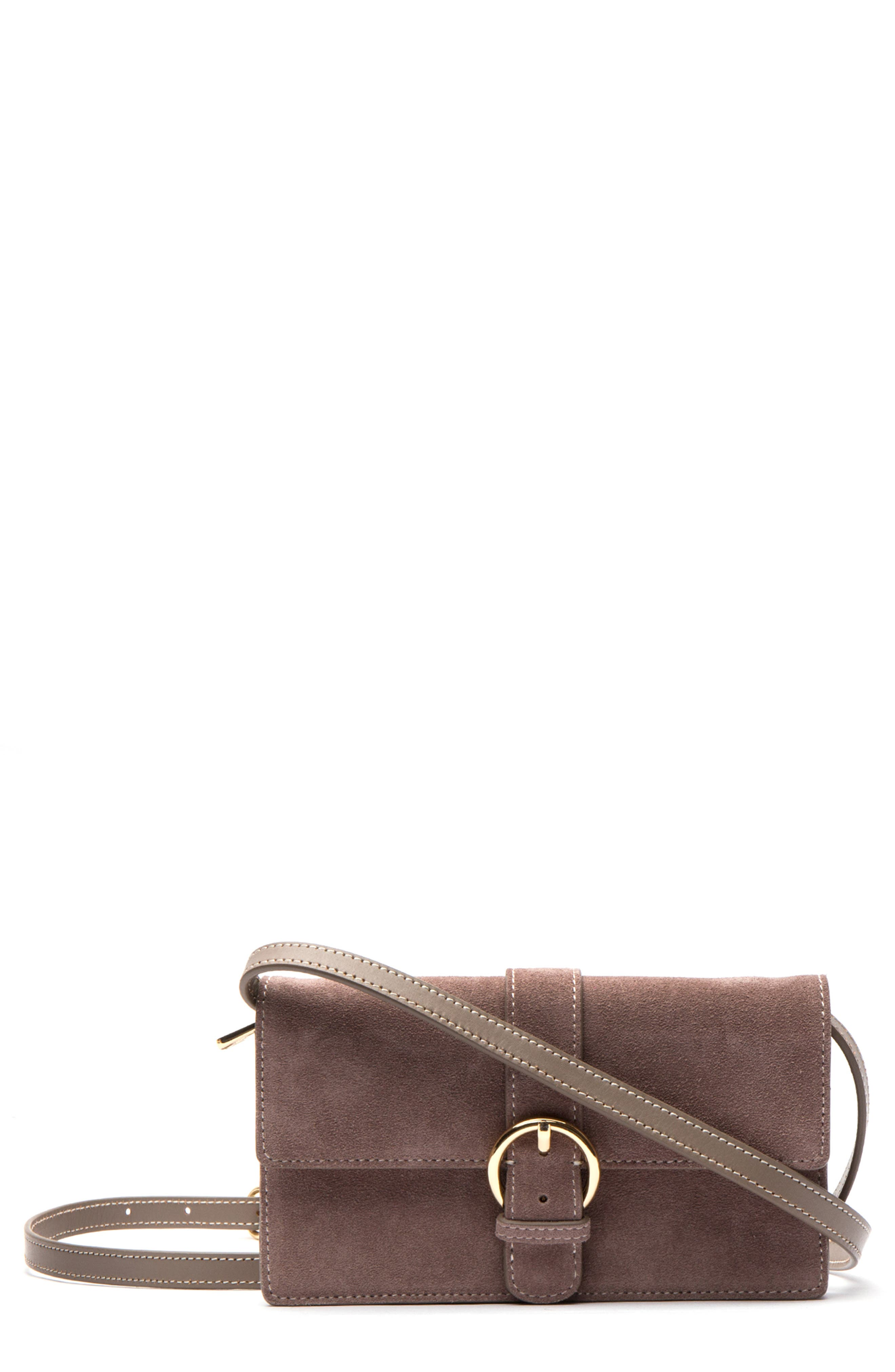 Suede Crossbody Wallet,                         Main,                         color, GREY