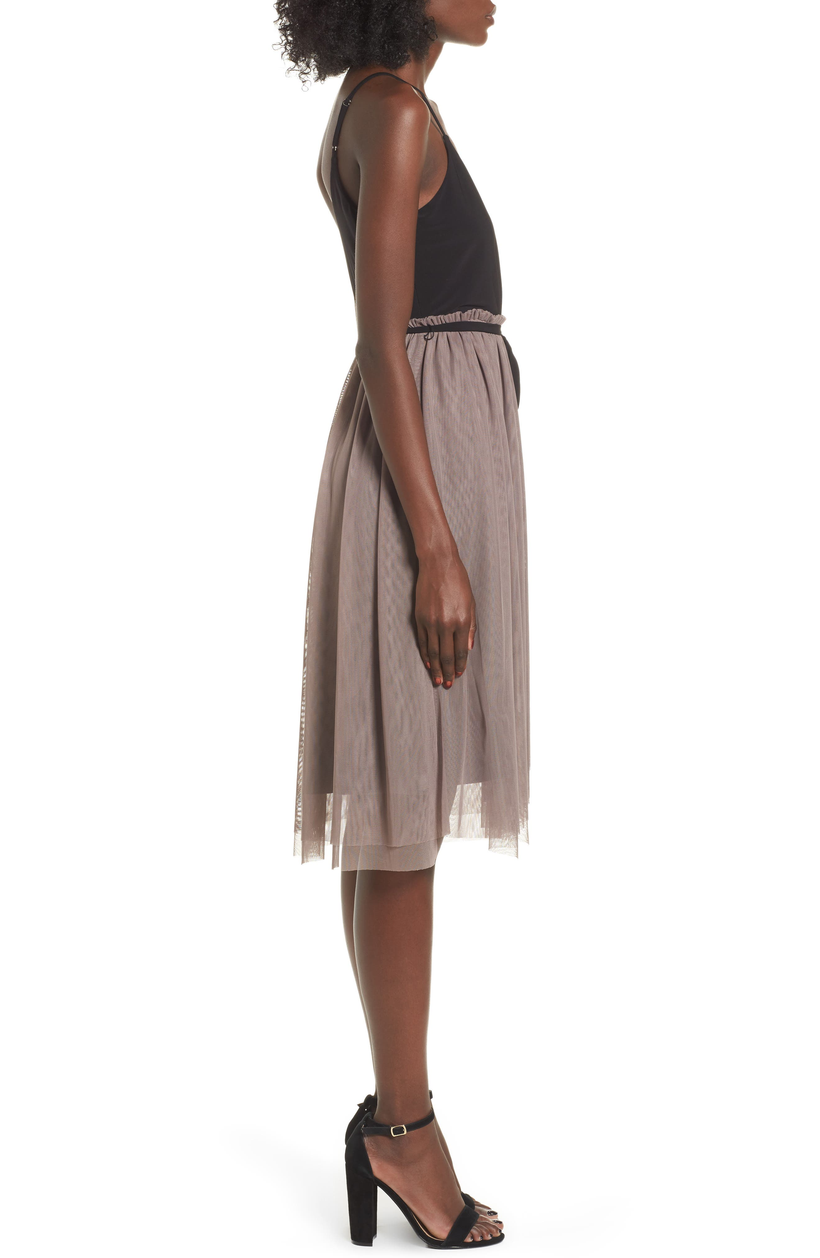 Mixed Media Midi Dress,                             Alternate thumbnail 3, color,                             238
