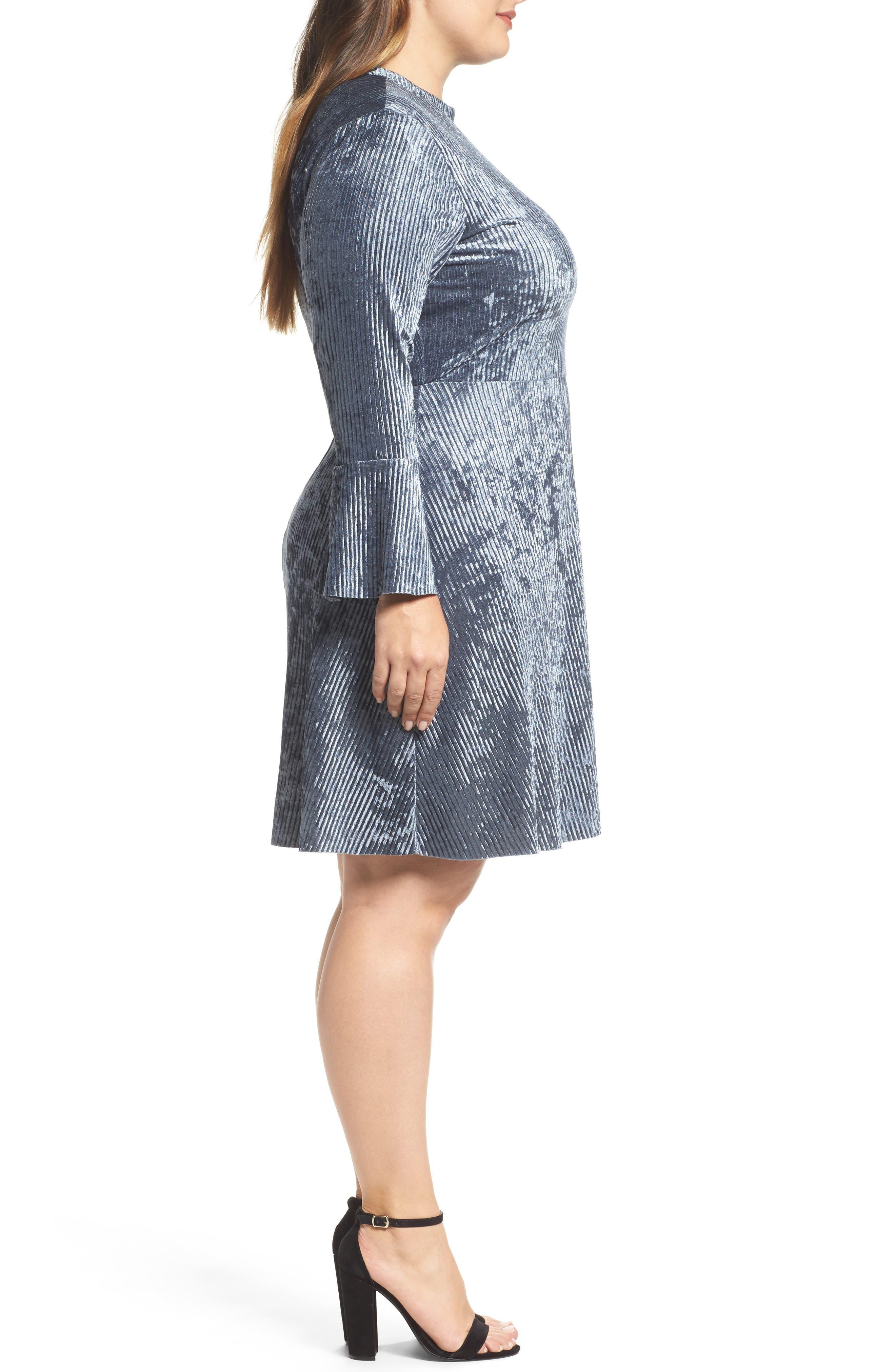 Plissé Velvet Bell Sleeve Dress,                             Alternate thumbnail 3, color,                             400