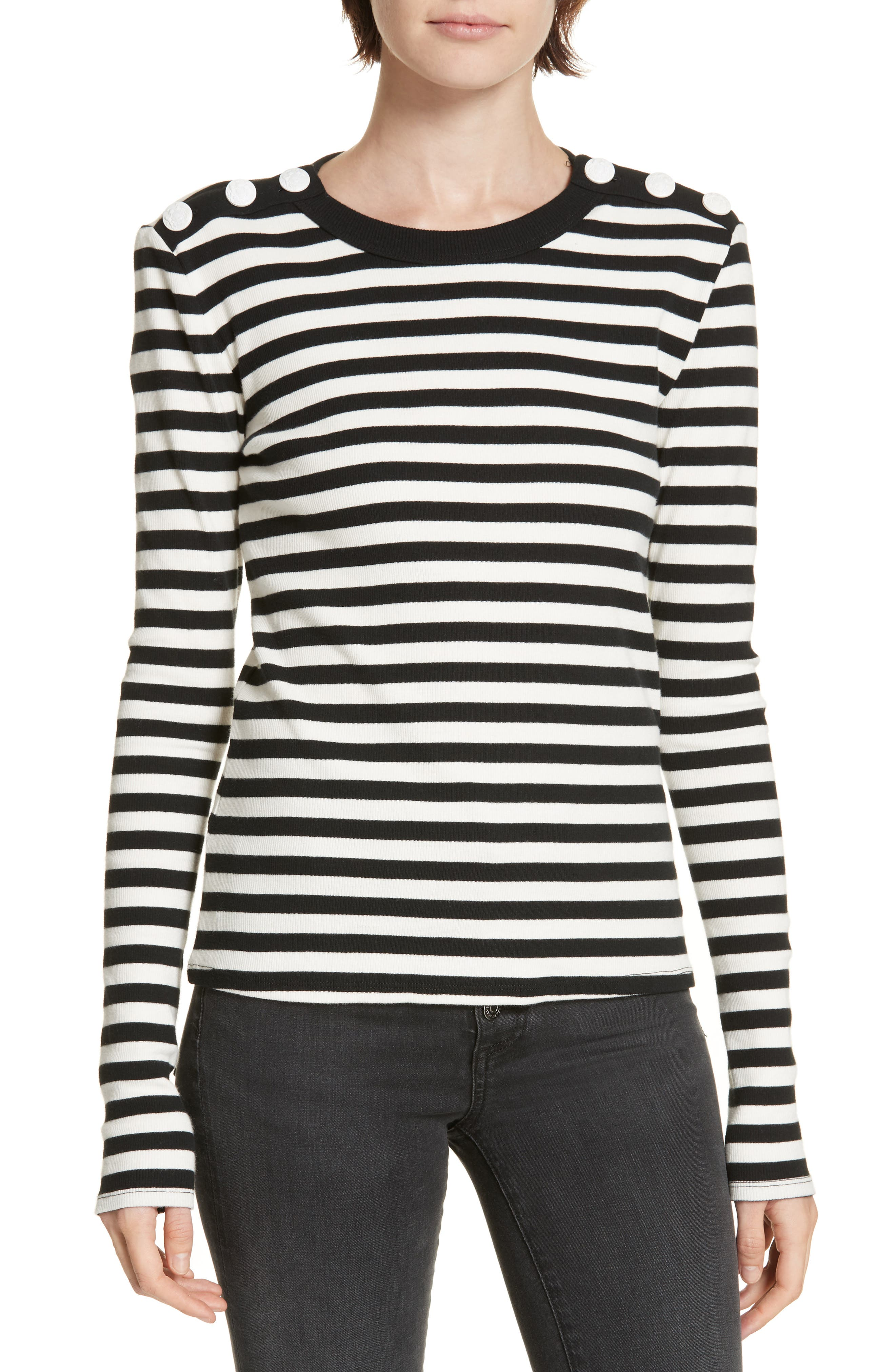 Mayer Button Shoulder Stripe Top,                         Main,                         color, BLACK/ WHITE