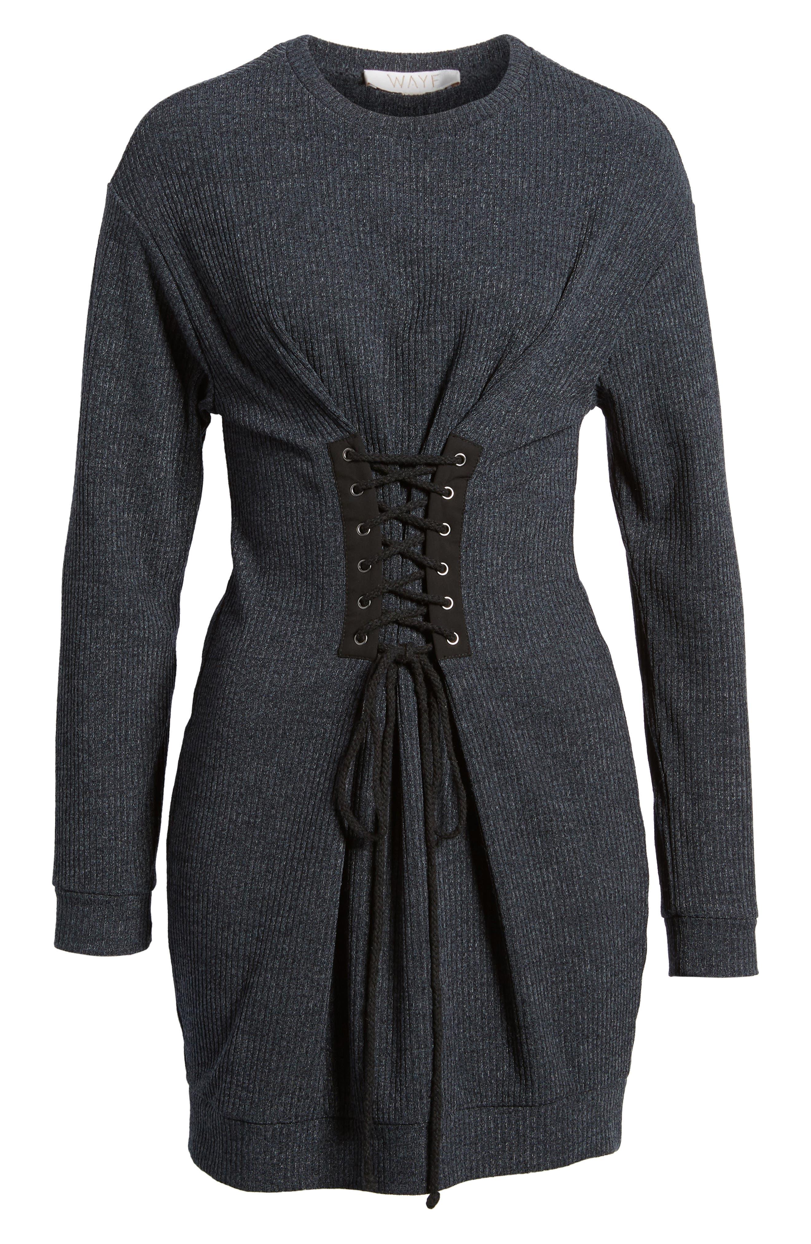 Corset Detail Sweatshirt Dress,                             Alternate thumbnail 6, color,                             020