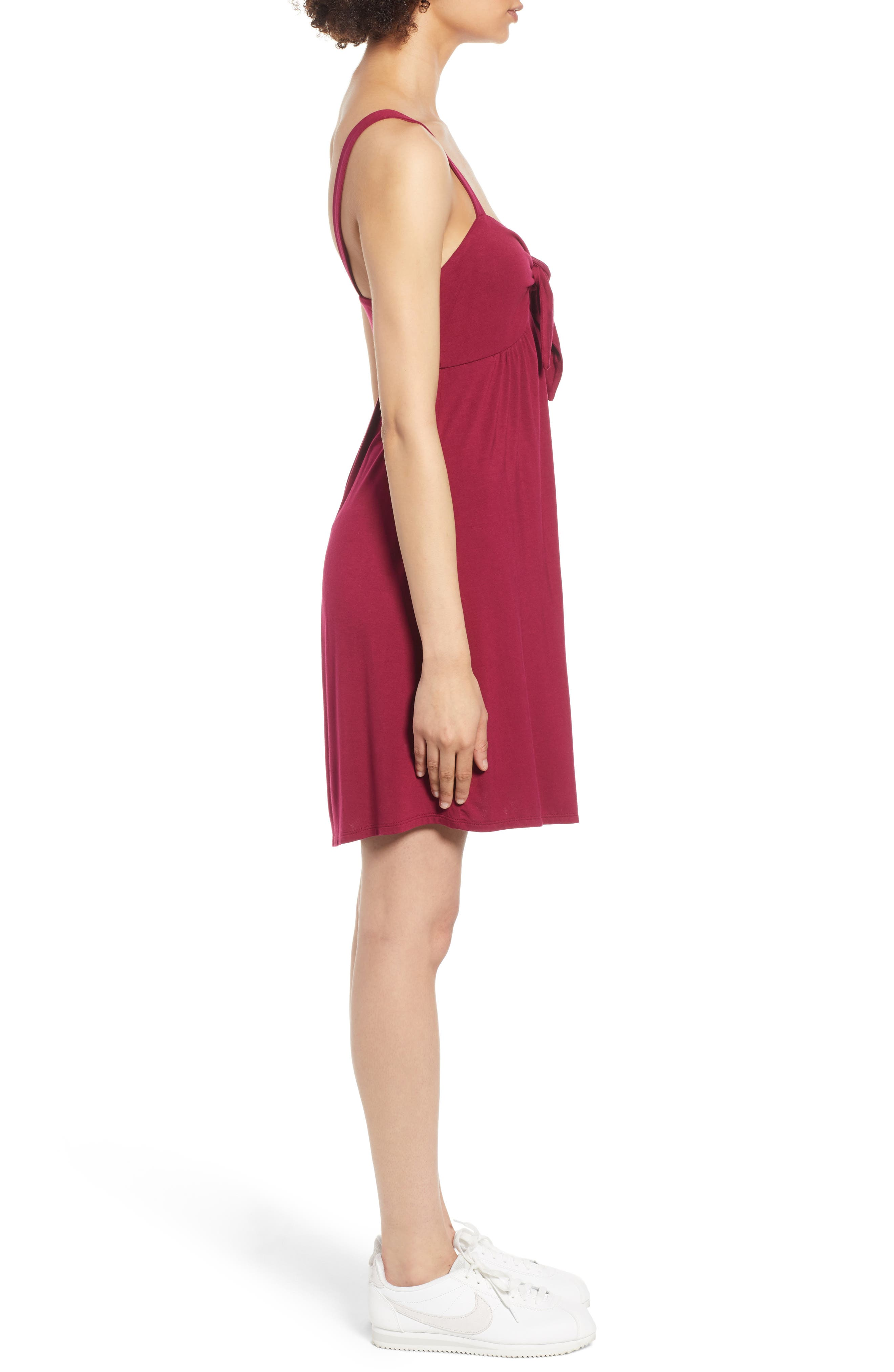 Tie Front Minidress,                             Alternate thumbnail 3, color,
