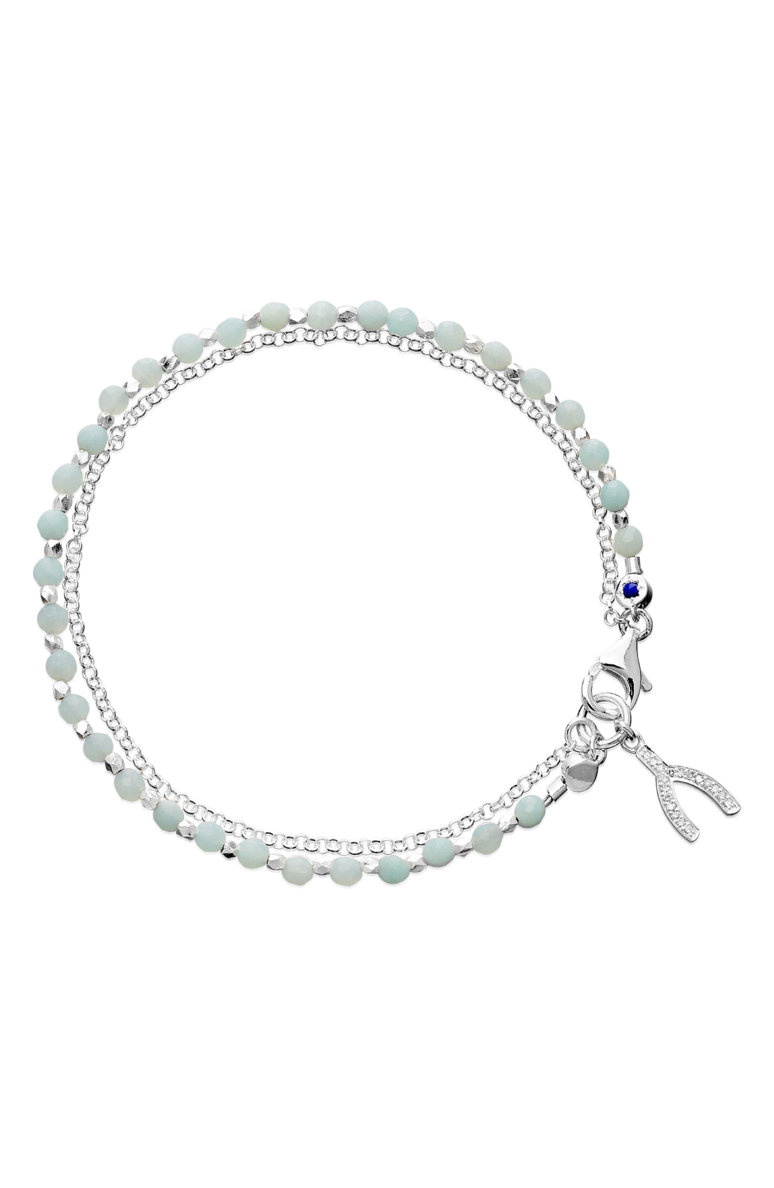 ASTLEY CLARKE Wishbone Sterling Silver Amazonite Friendship Bracelet in Pale Blue