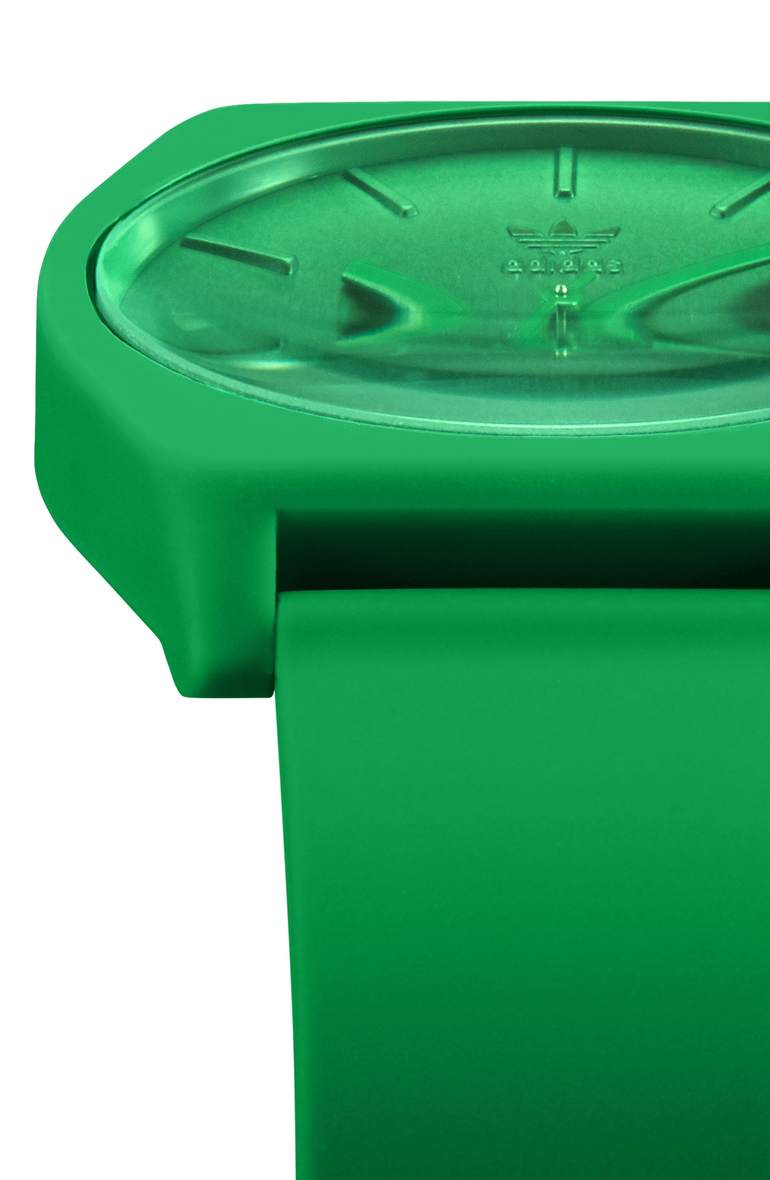 ADIDAS,                             Process Silicone Strap Watch, 38mm,                             Alternate thumbnail 4, color,                             GREEN