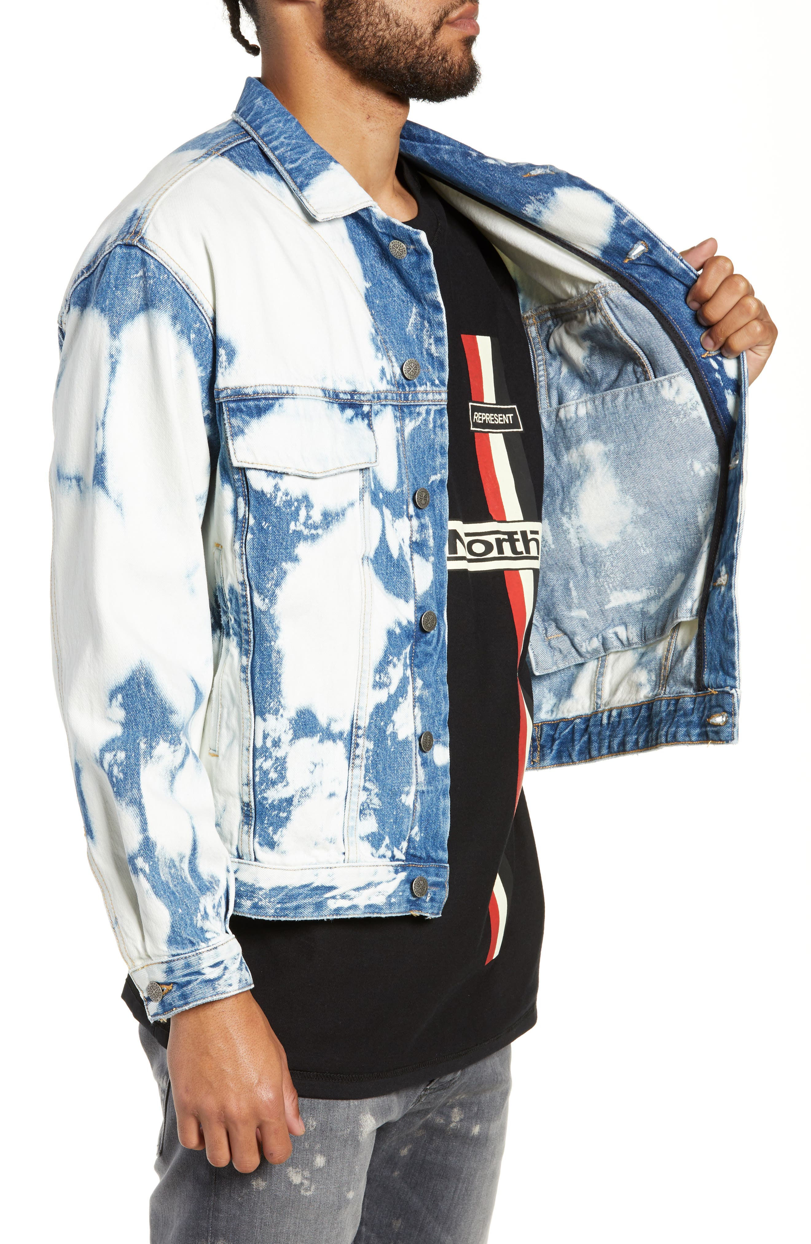 Stained Denim Jacket,                             Alternate thumbnail 3, color,                             STAINED
