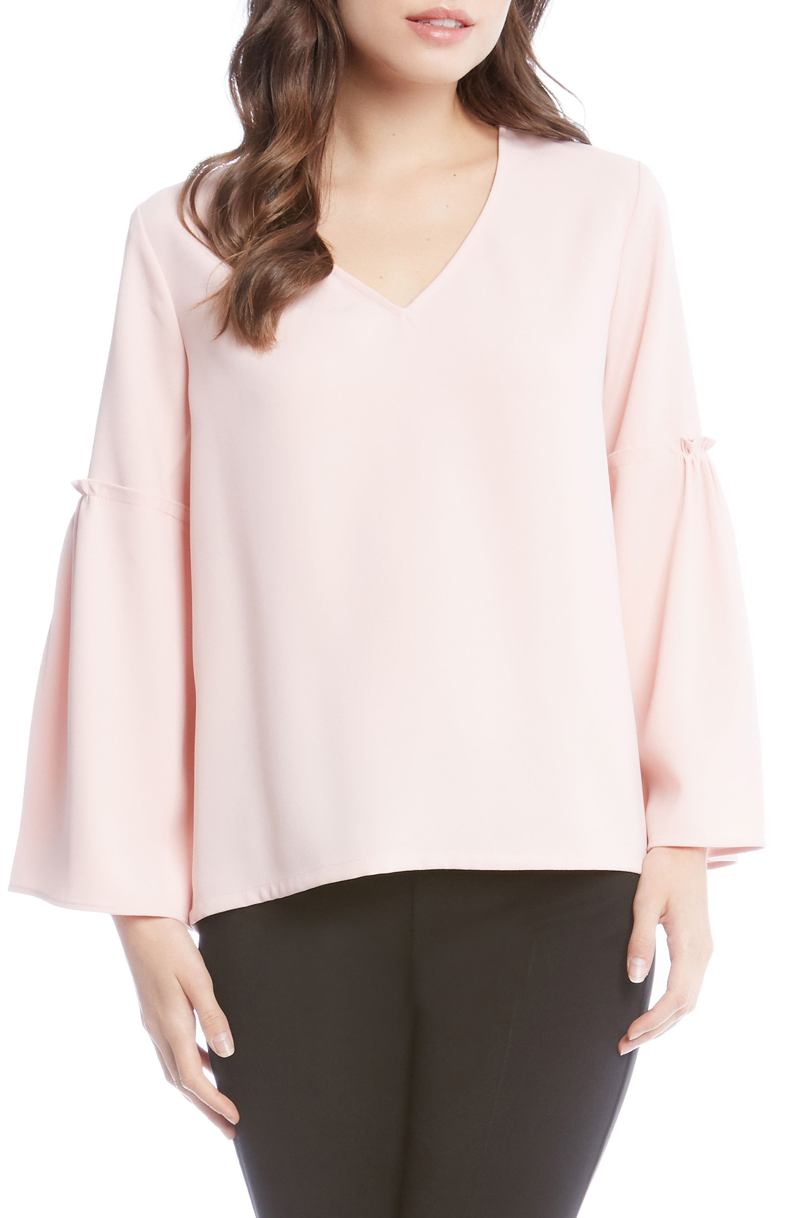 Bell Sleeve Crepe Top,                             Main thumbnail 2, color,