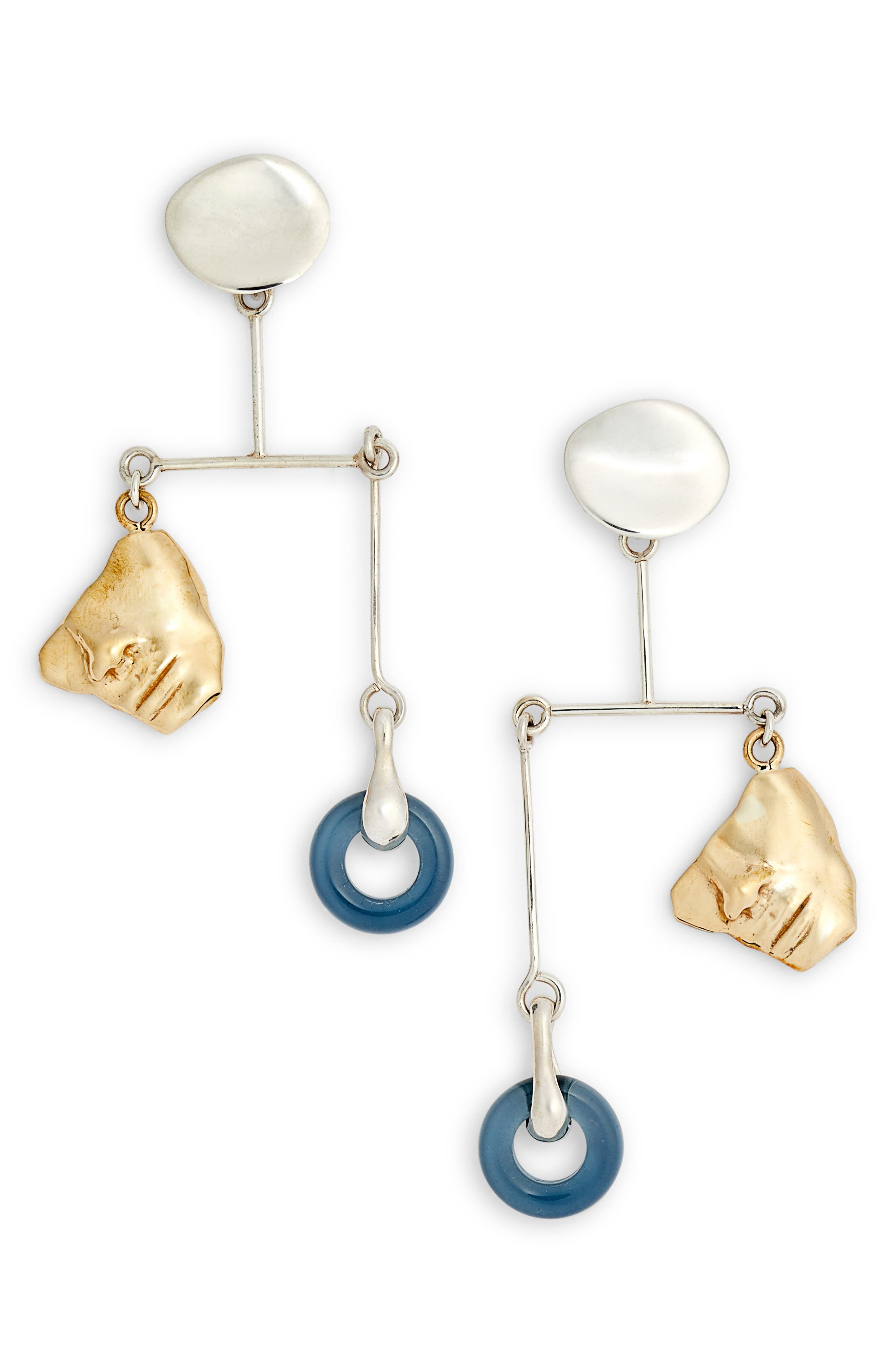 Portra Mobile Earrings,                         Main,                         color, STERLING SILVER/ BRONZE/ GLASS
