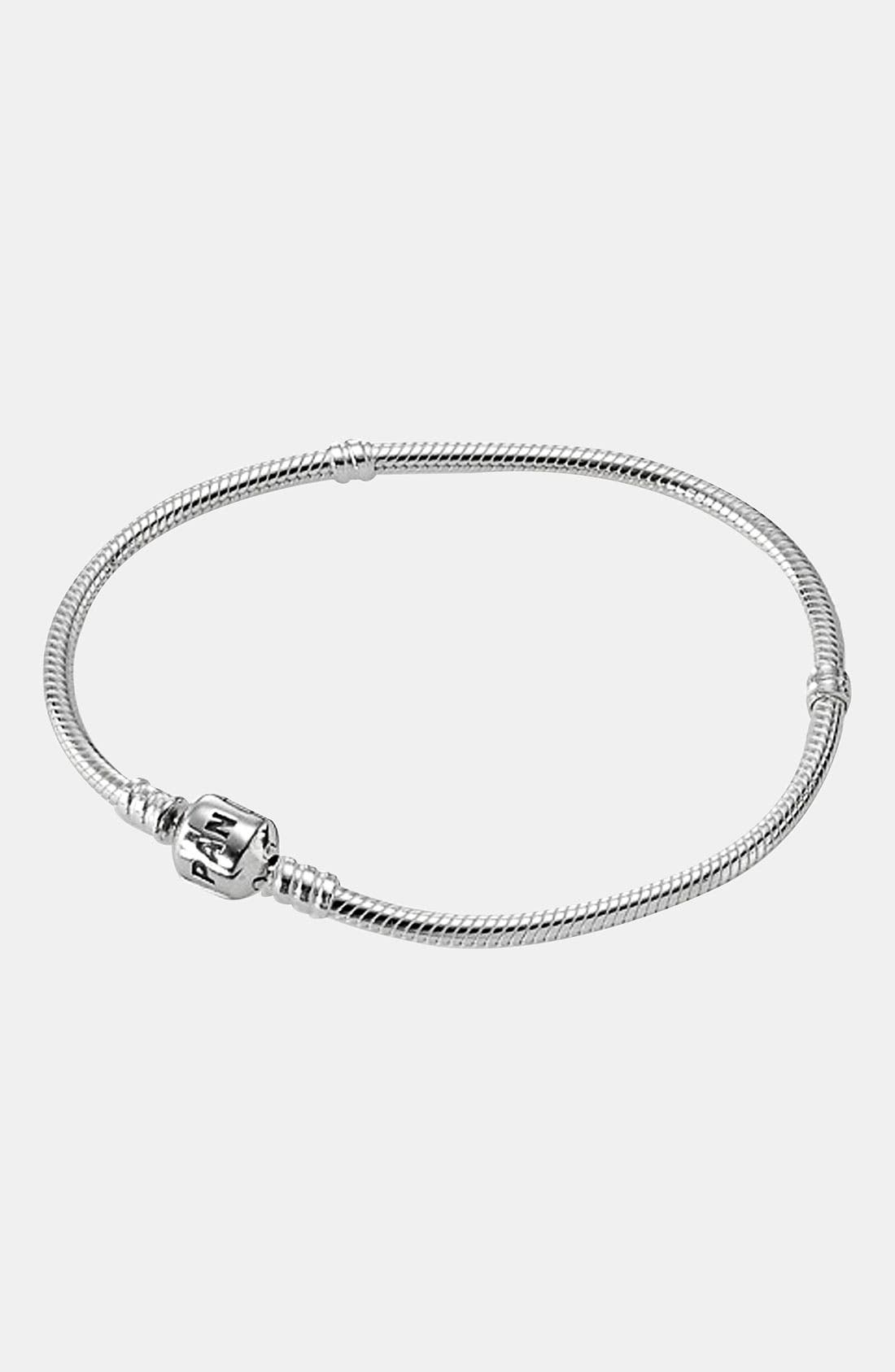 PANDORA,                             Iconic Silver Charm Bracelet,                             Main thumbnail 1, color,                             STERLING SILVER