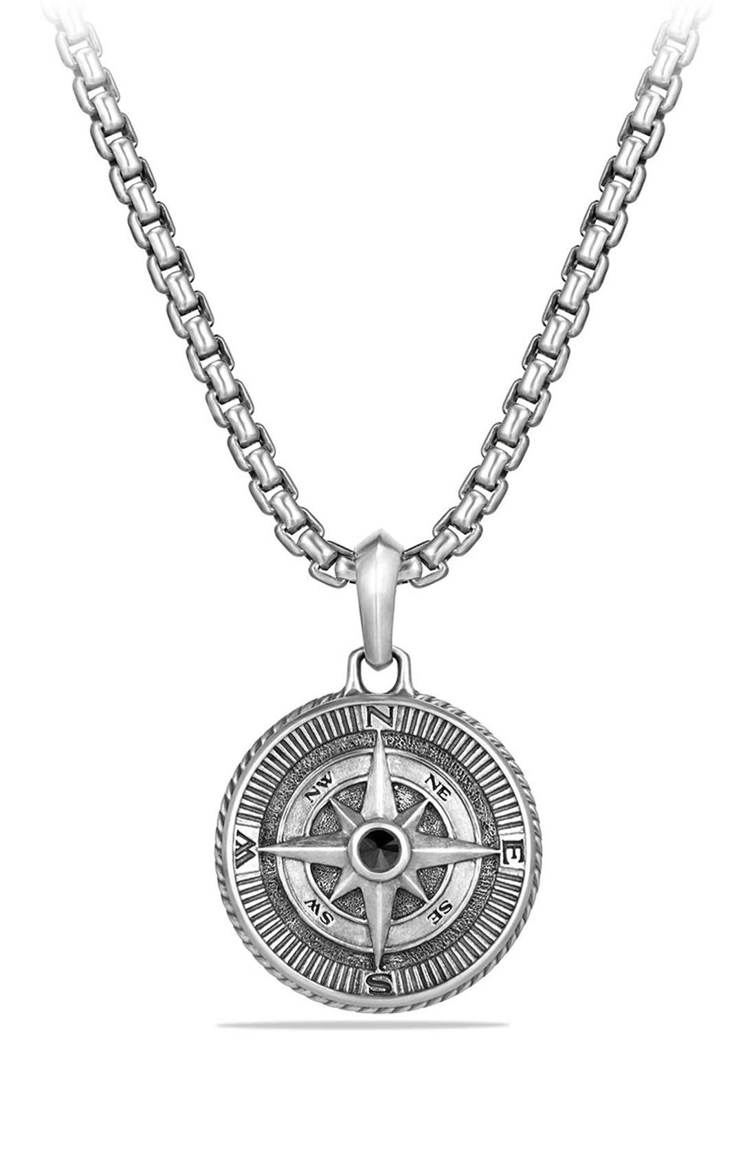 'Maritime' Compass Amulet with Black Diamond,                             Main thumbnail 1, color,                             SILVER/ BLACK DIAMOND