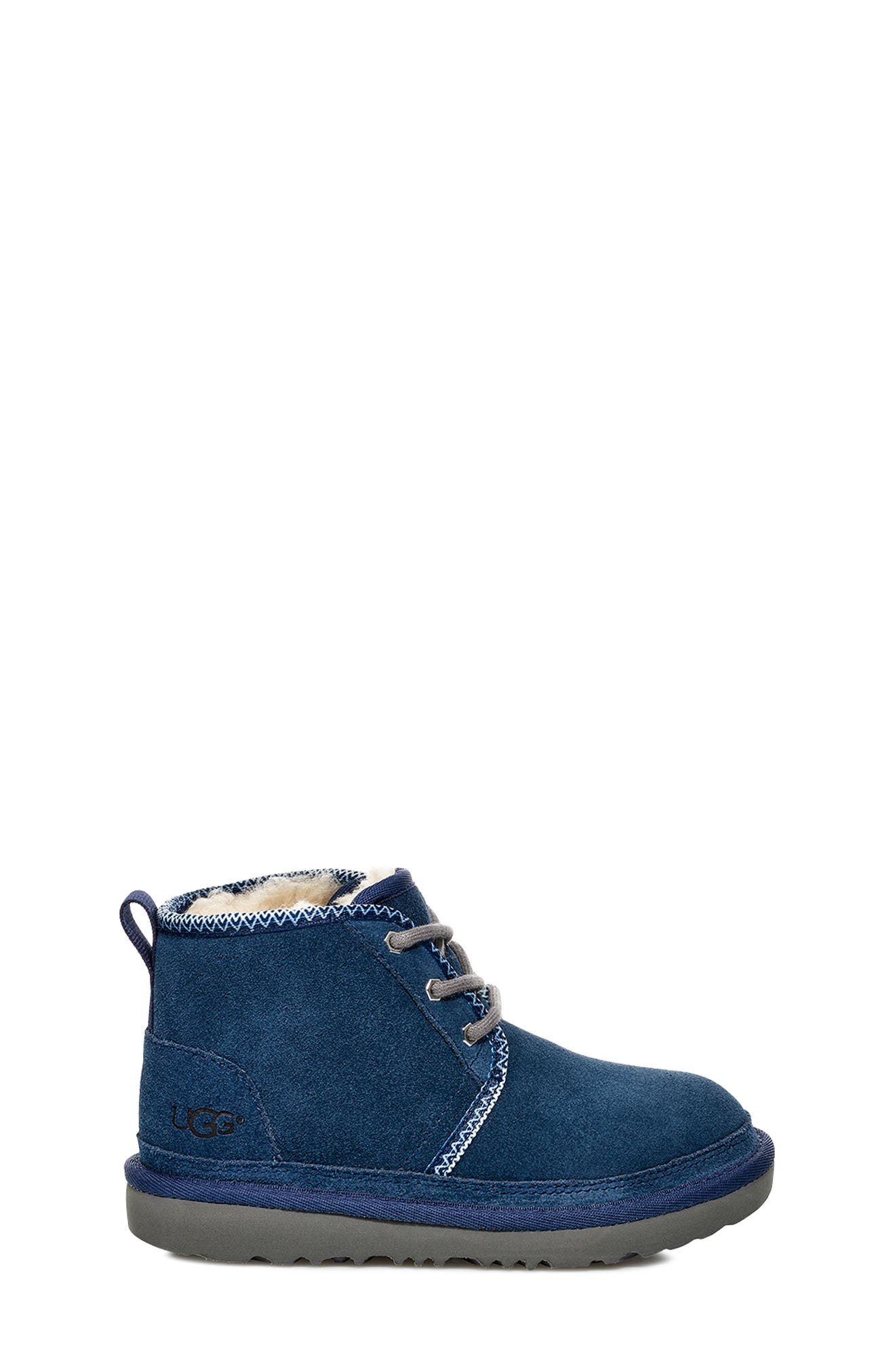 Neumel II Tasman Genuine Shearling Chukka Boot,                             Alternate thumbnail 3, color,                             NAVY / TASMAN