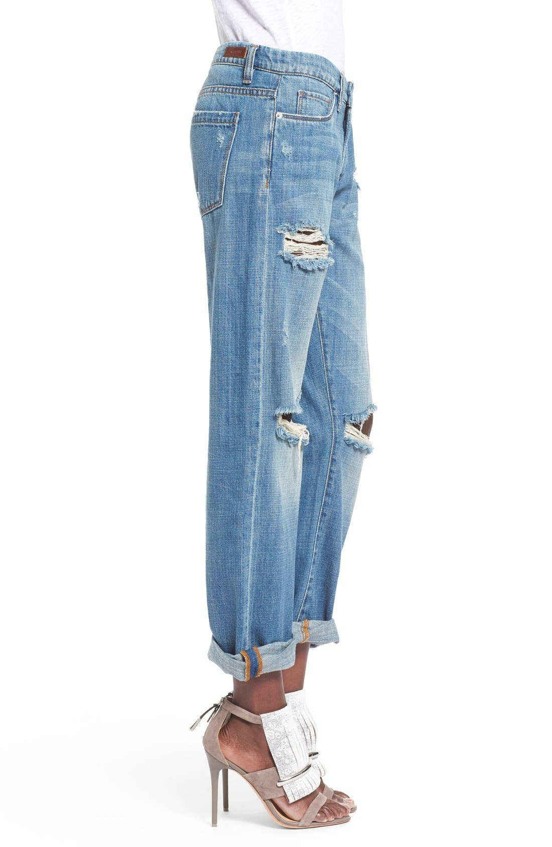 'Meant to Be' High Rise Distressed Boyfriend Jeans,                             Alternate thumbnail 5, color,                             400