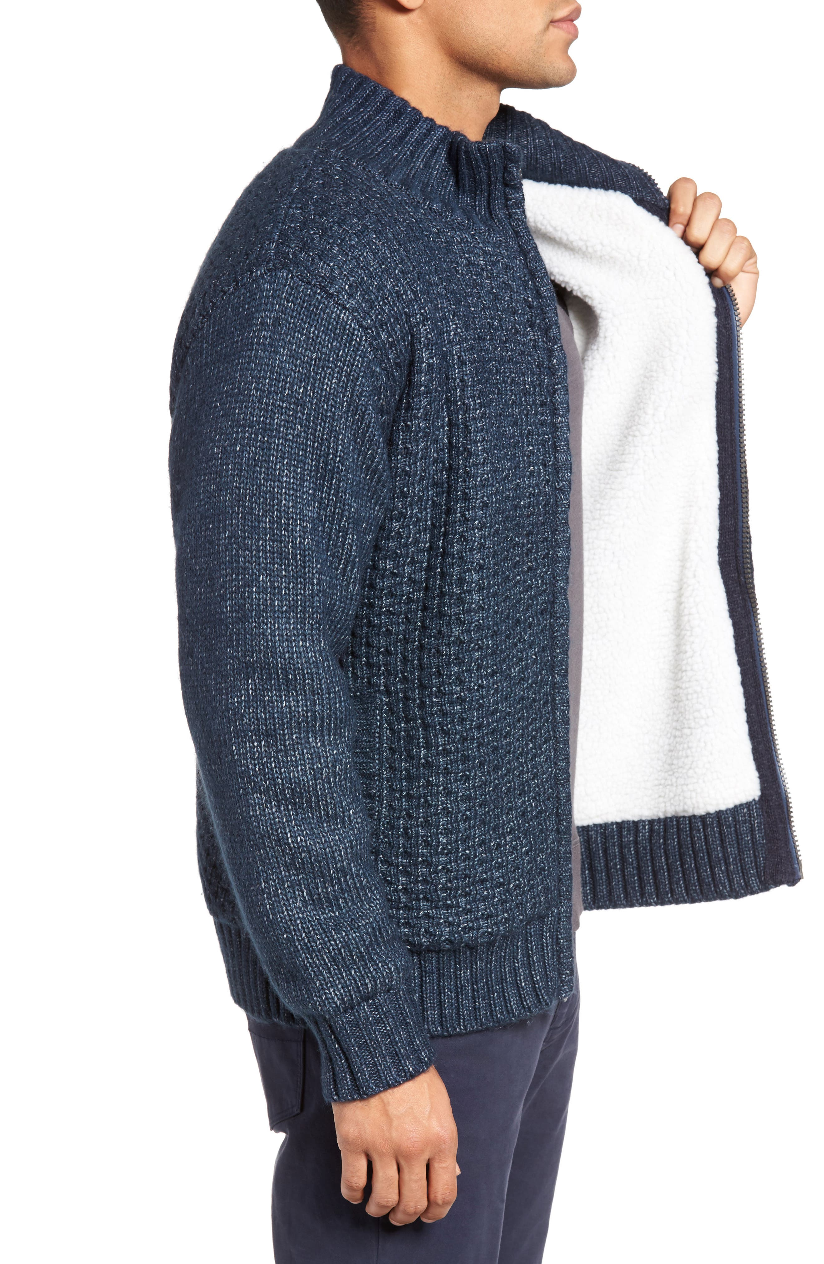 Zip Front Sherpa Sweater Jacket,                             Alternate thumbnail 3, color,                             407