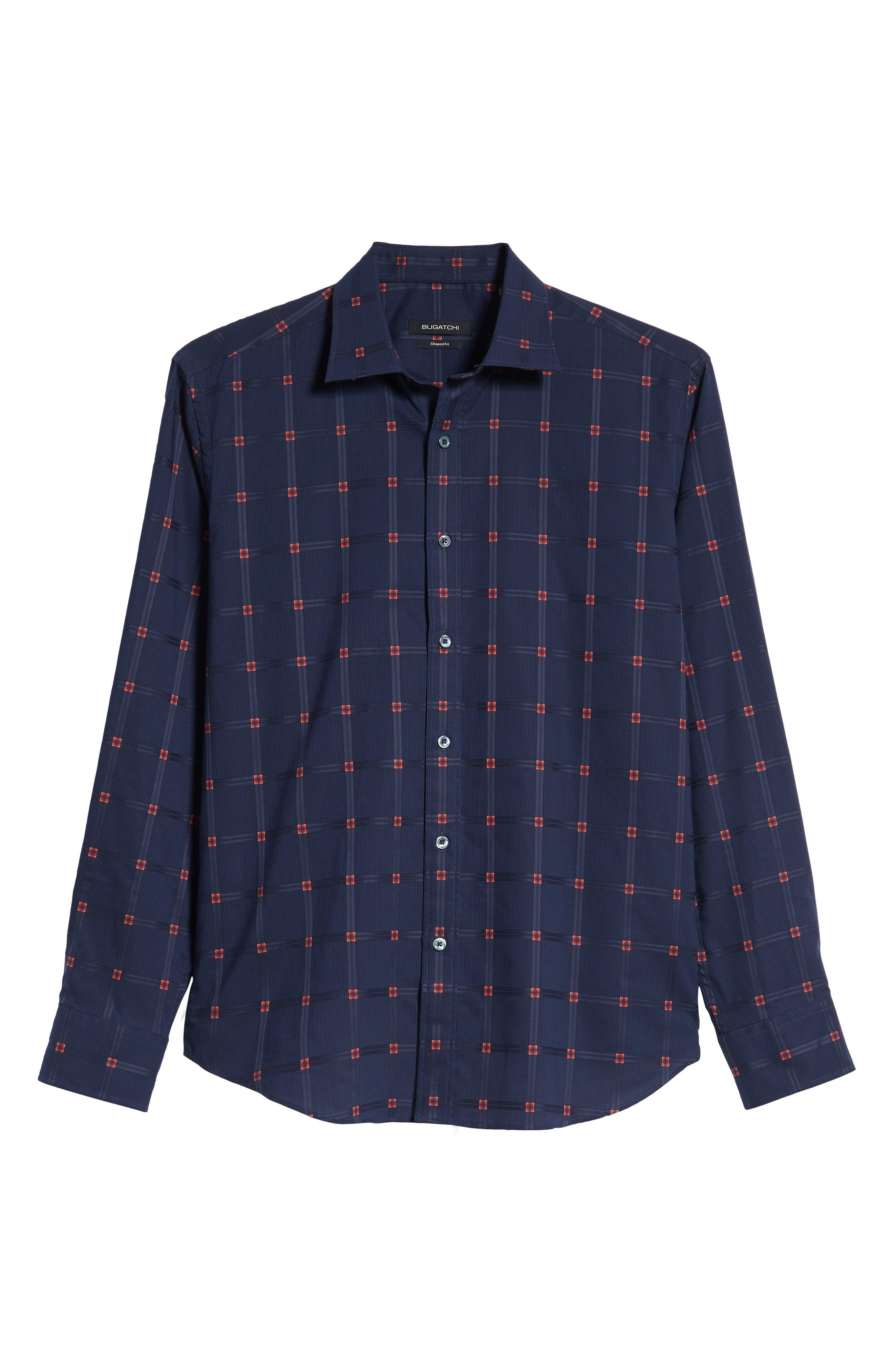 Shaped Fit Grid Sport Shirt,                             Alternate thumbnail 5, color,                             NAVY