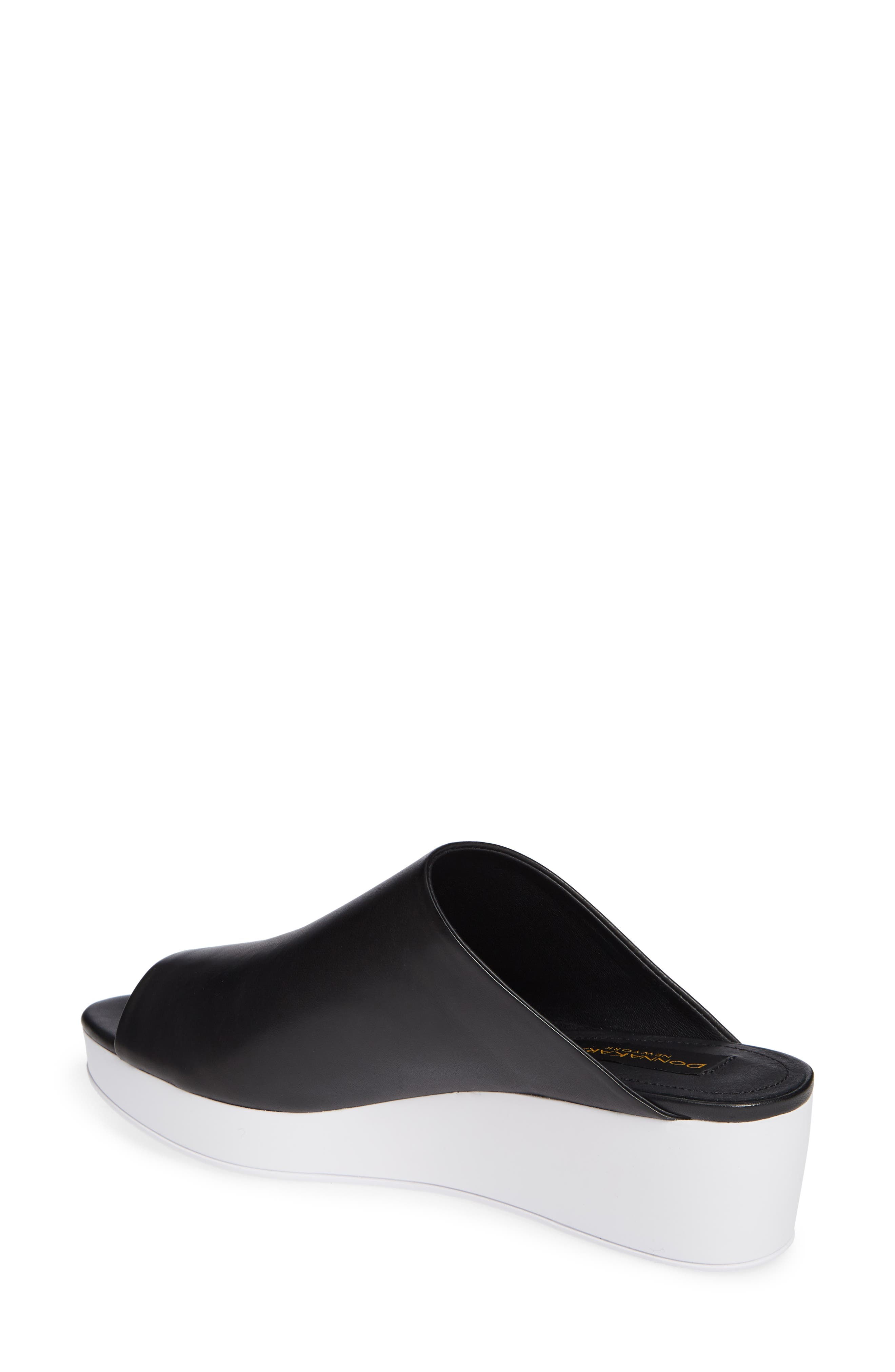 Donna Karan Reisley Wedge Slide Sandal,                             Alternate thumbnail 2, color,                             BLACK LEATHER