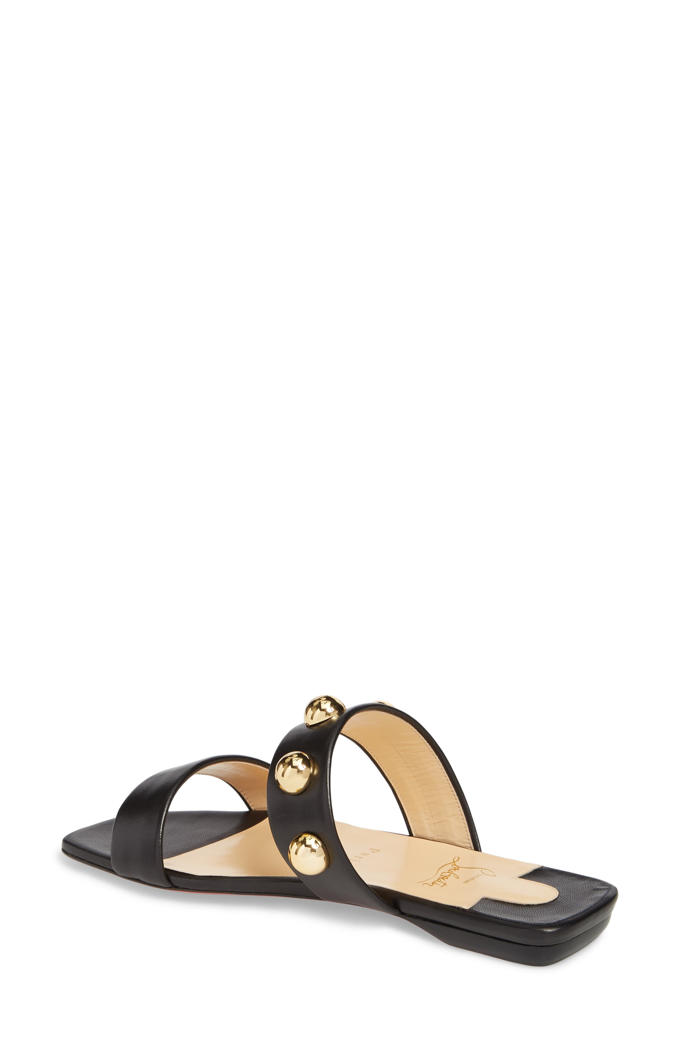 Simple Bille Ornament Slide Sandal,                             Alternate thumbnail 2, color,                             BLACK/ GOLD