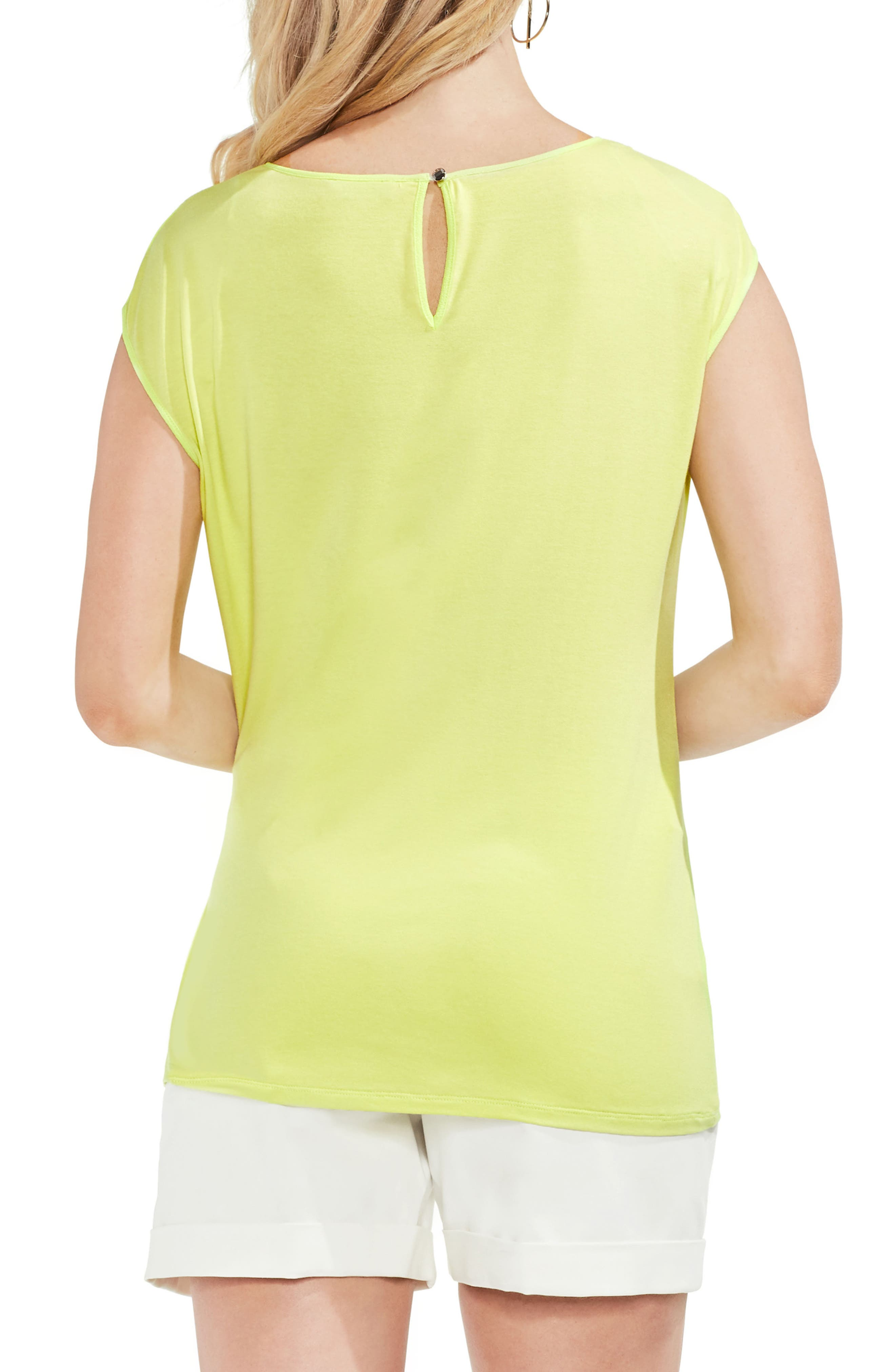 Side Tie Ruched Stretch Crepe Top,                             Alternate thumbnail 2, color,                             300