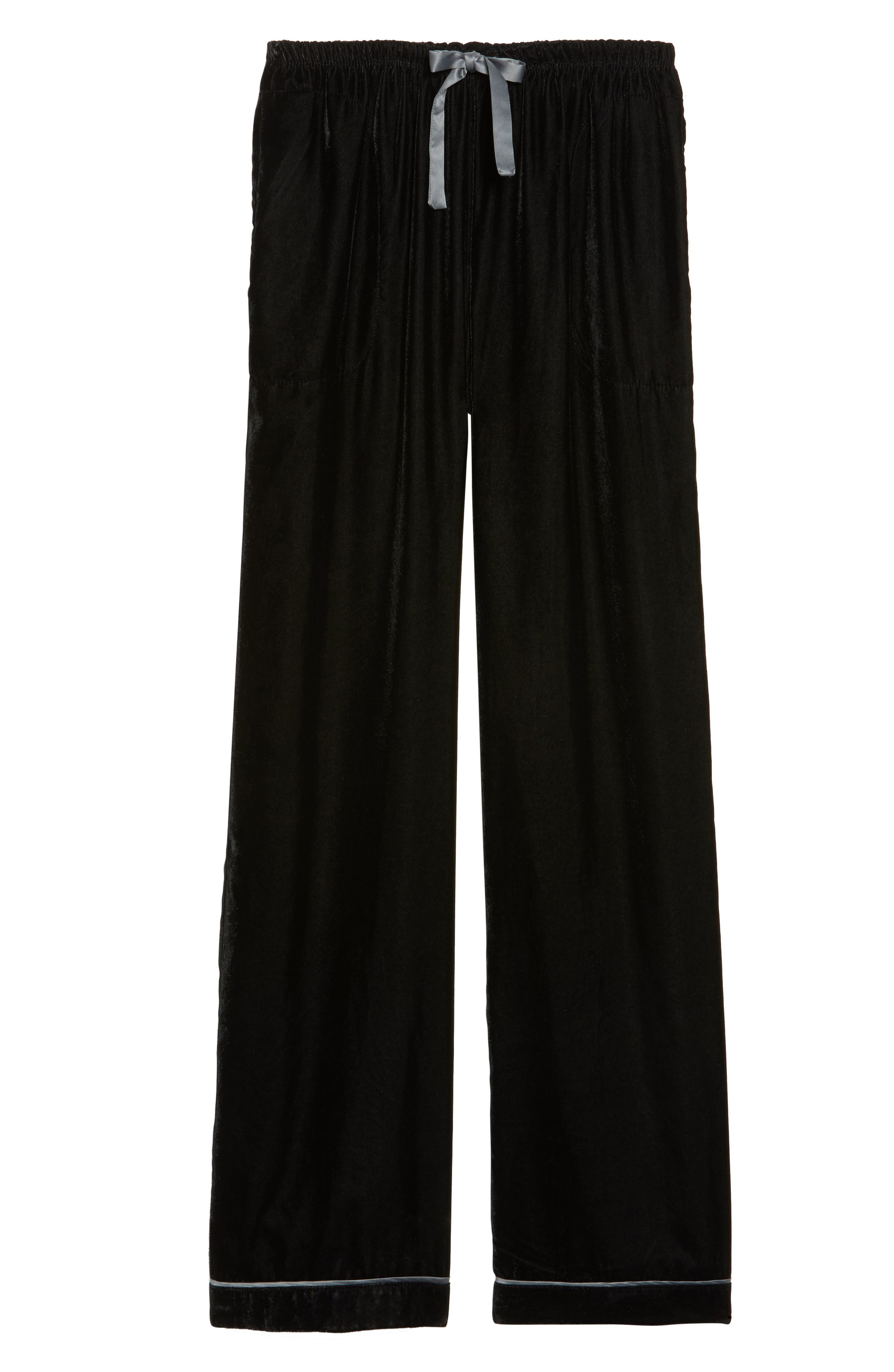 Velvet Pajama Pants,                             Alternate thumbnail 6, color,                             001