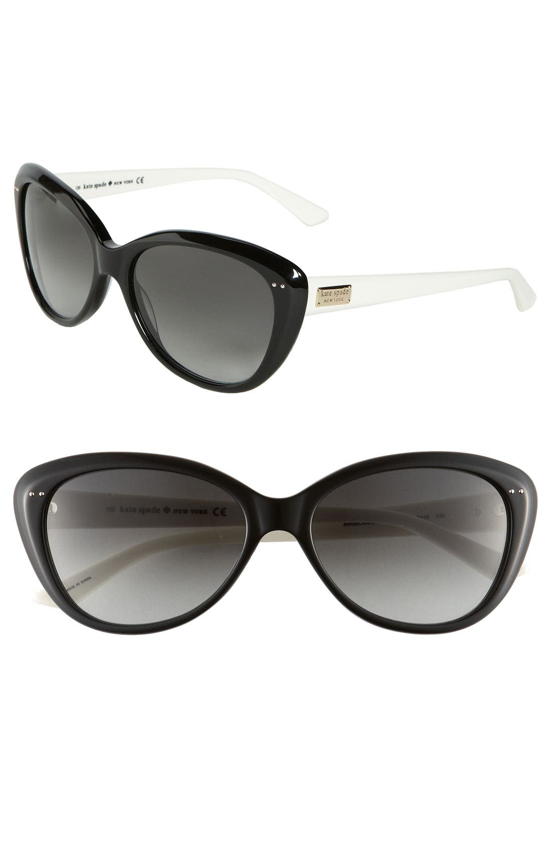 KATE SPADE NEW YORK,                             'angelique' 55mm retro sunglasses,                             Main thumbnail 1, color,                             001