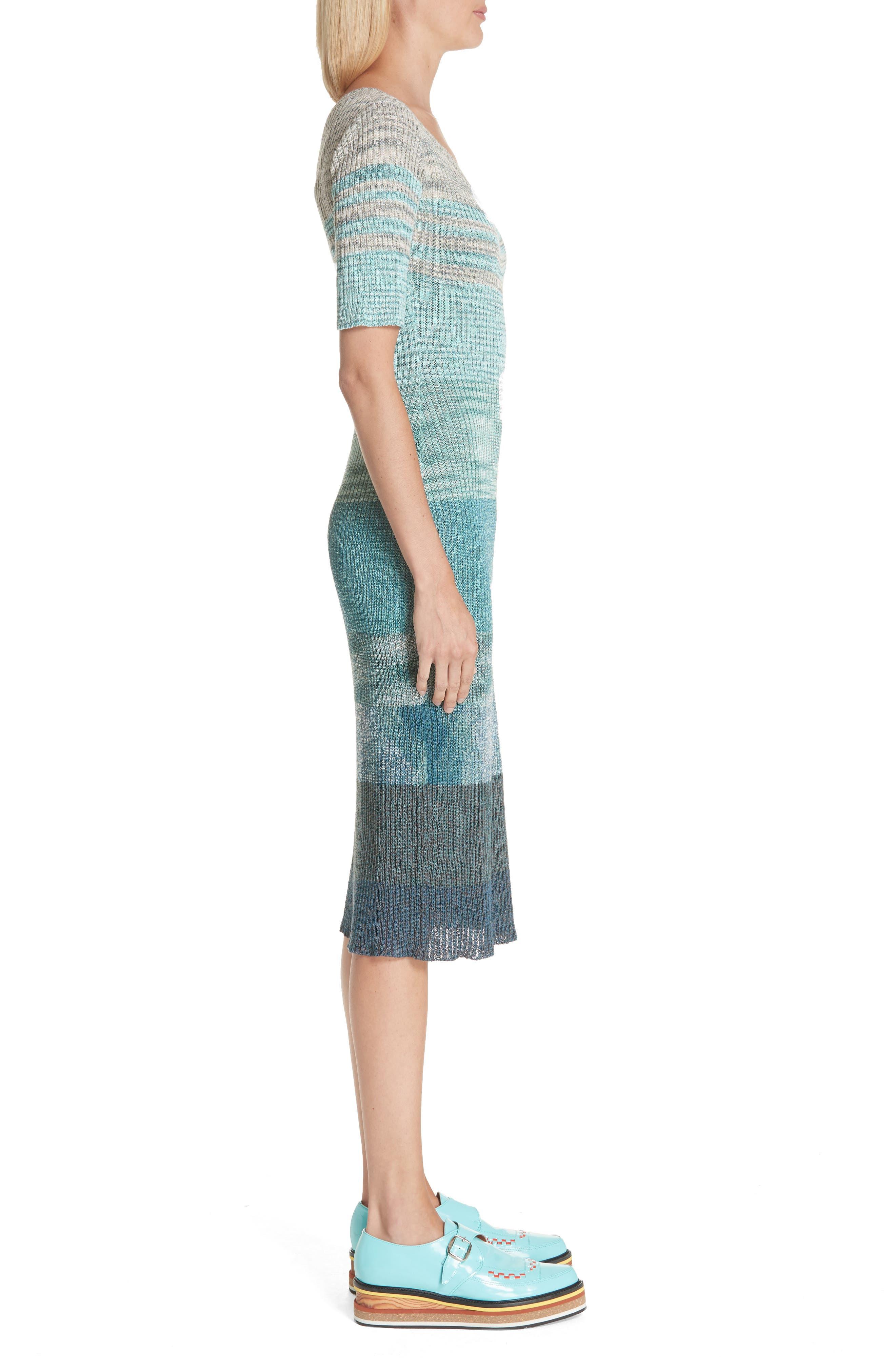 Boatneck Ribbed Dress,                             Alternate thumbnail 3, color,                             BLUE