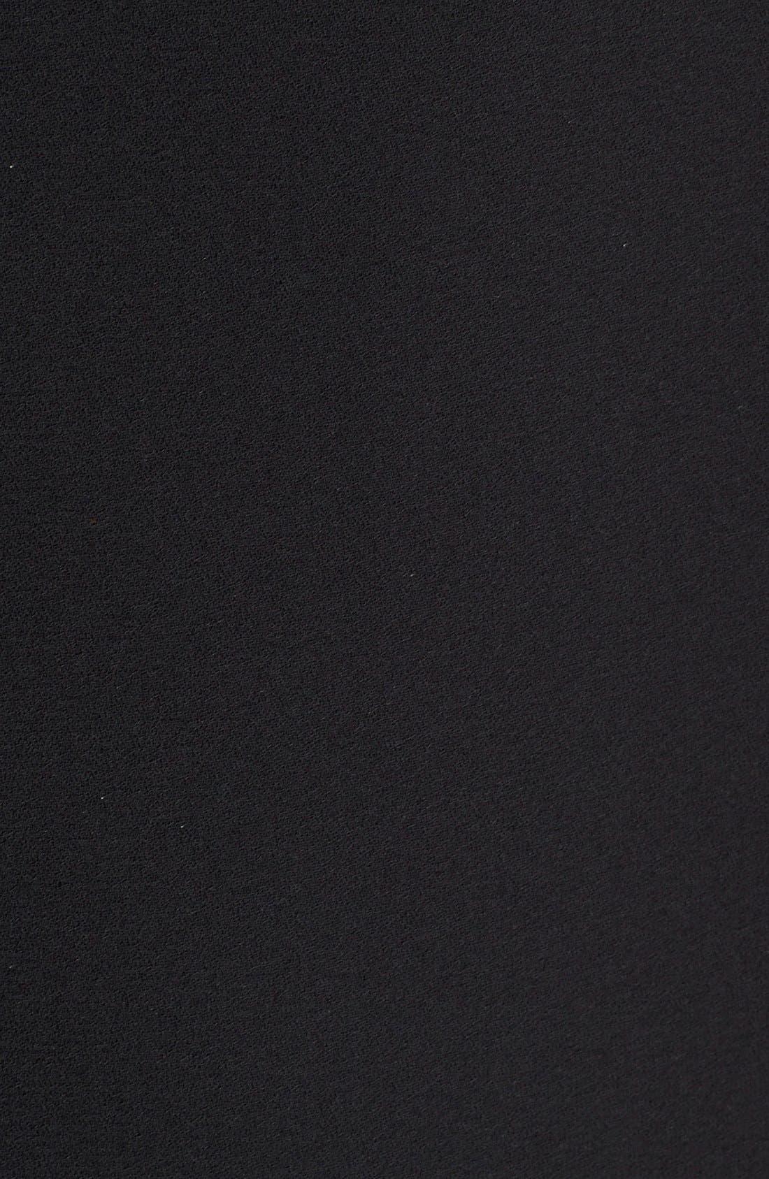 Leather Trim Trapeze Crepe Dress,                             Alternate thumbnail 5, color,
