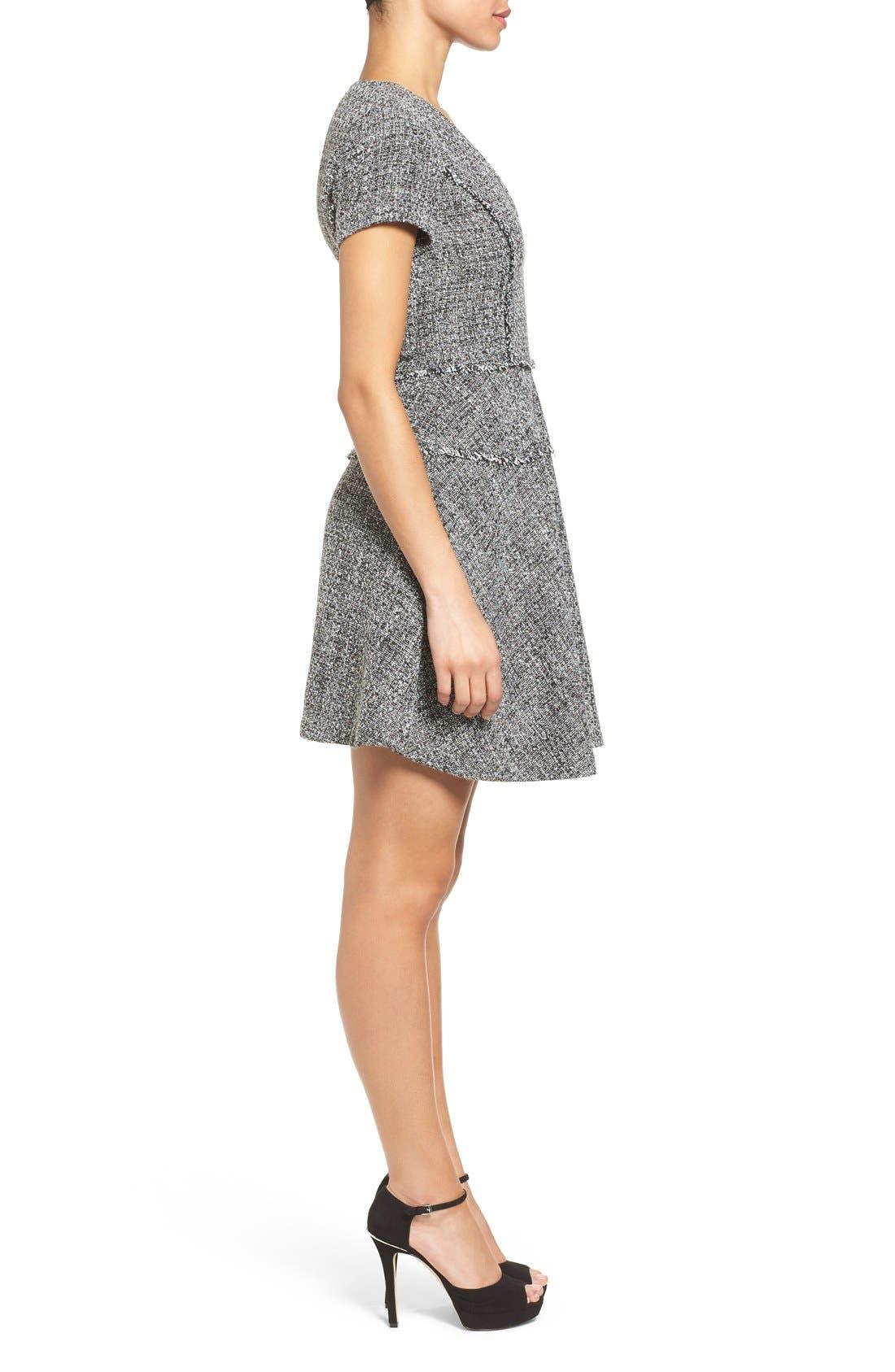 MICHAEL MICHAEL KORS,                             Tweed Fit & Flare Dress,                             Alternate thumbnail 2, color,                             001